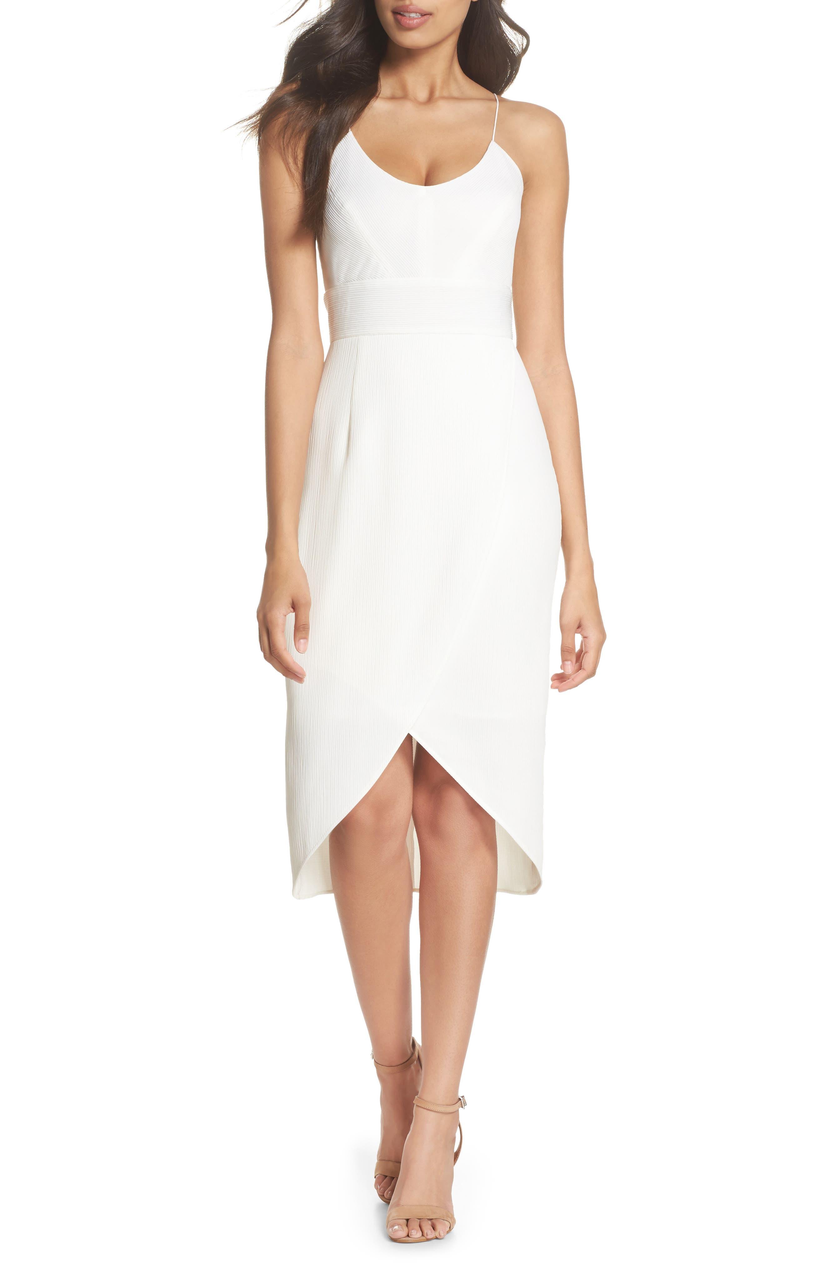 Micro Pleat Tulip Hem Dress,                             Main thumbnail 1, color,                             White Snow