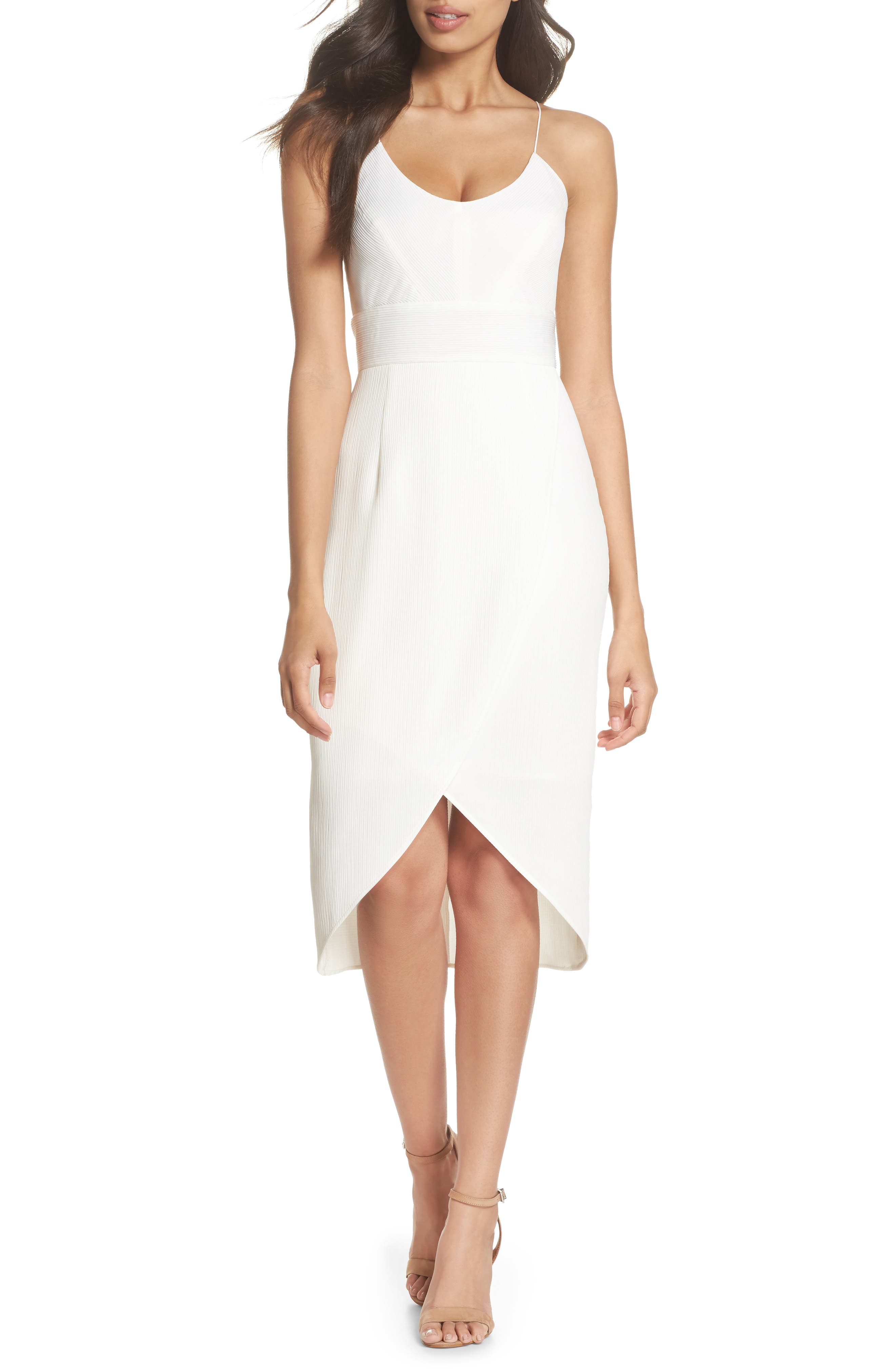 Micro Pleat Tulip Hem Dress,                         Main,                         color, White Snow