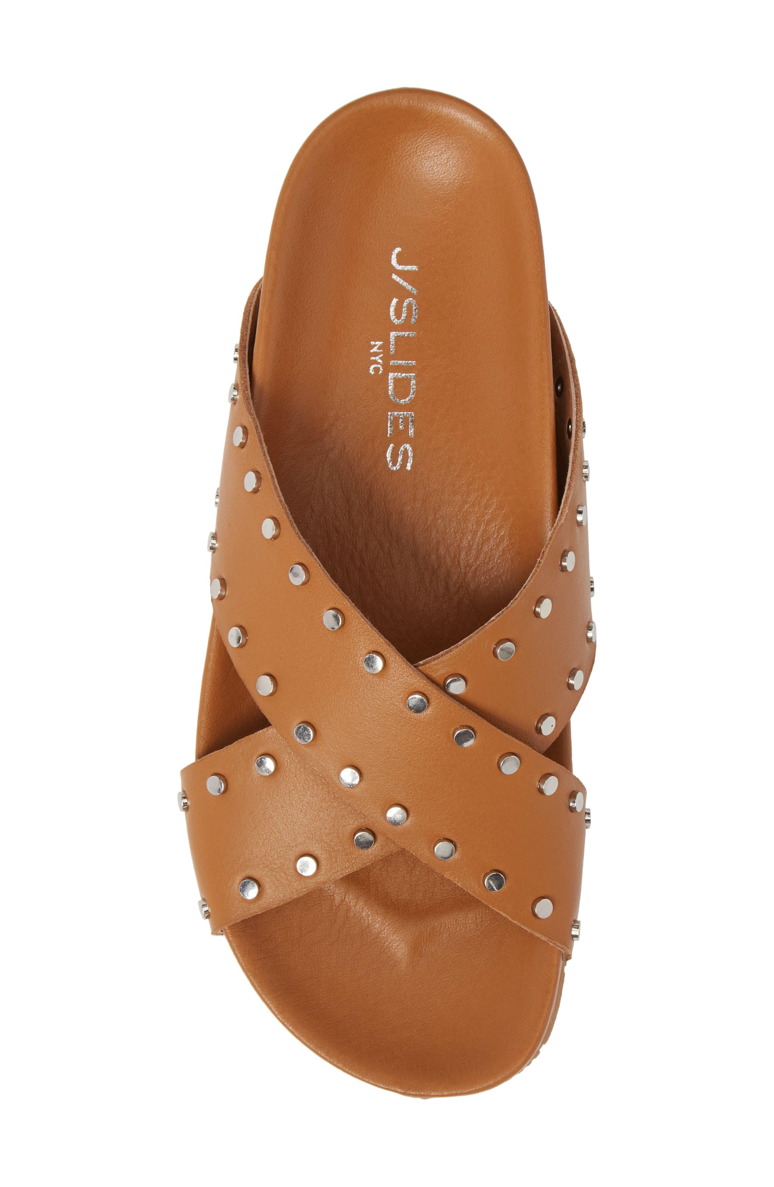 Ellie Studded Slide Sandal,                             Alternate thumbnail 5, color,                             Tan Leather
