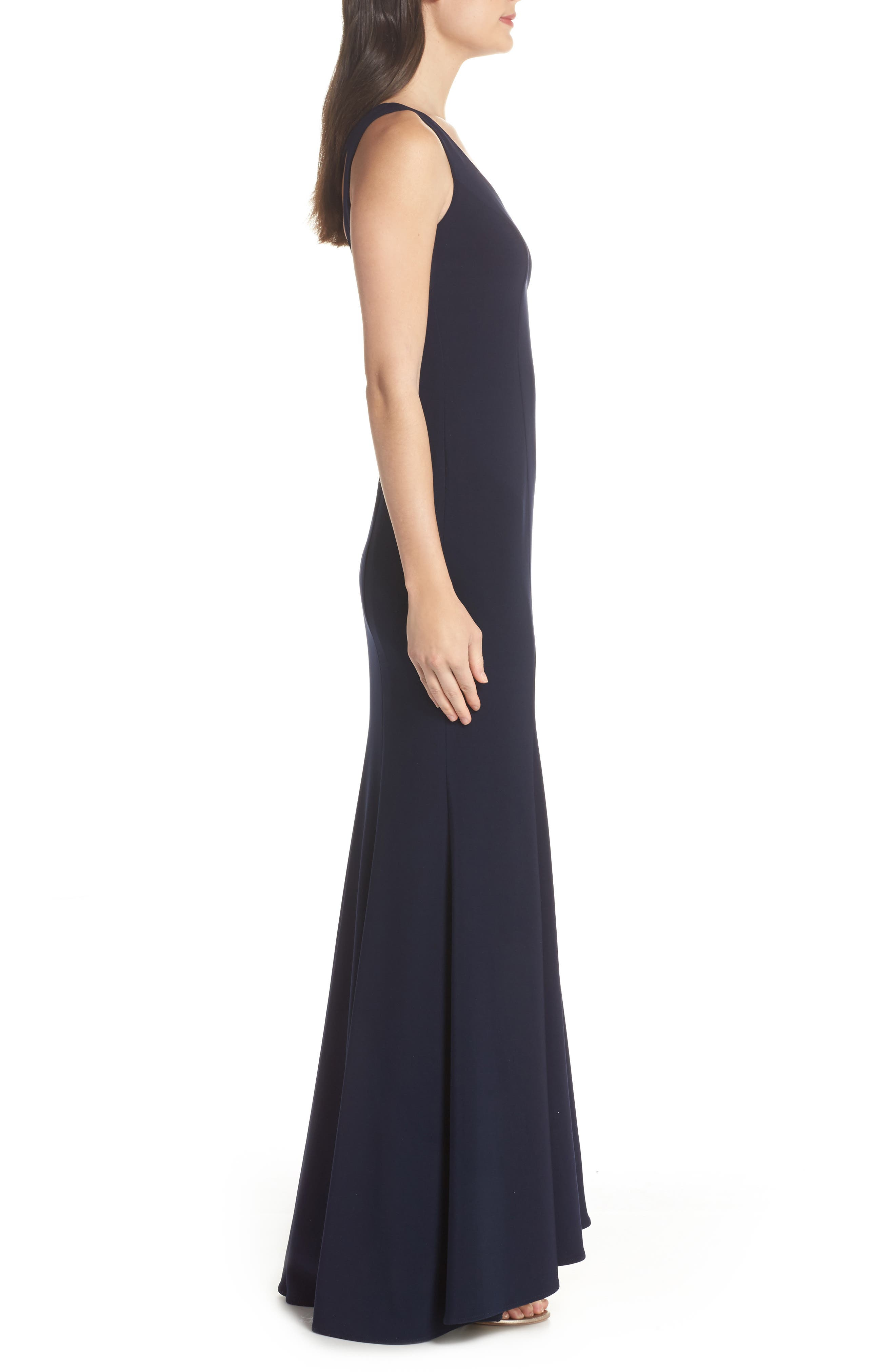 Deep V-Neck Trumpet Gown,                             Alternate thumbnail 3, color,                             Navy