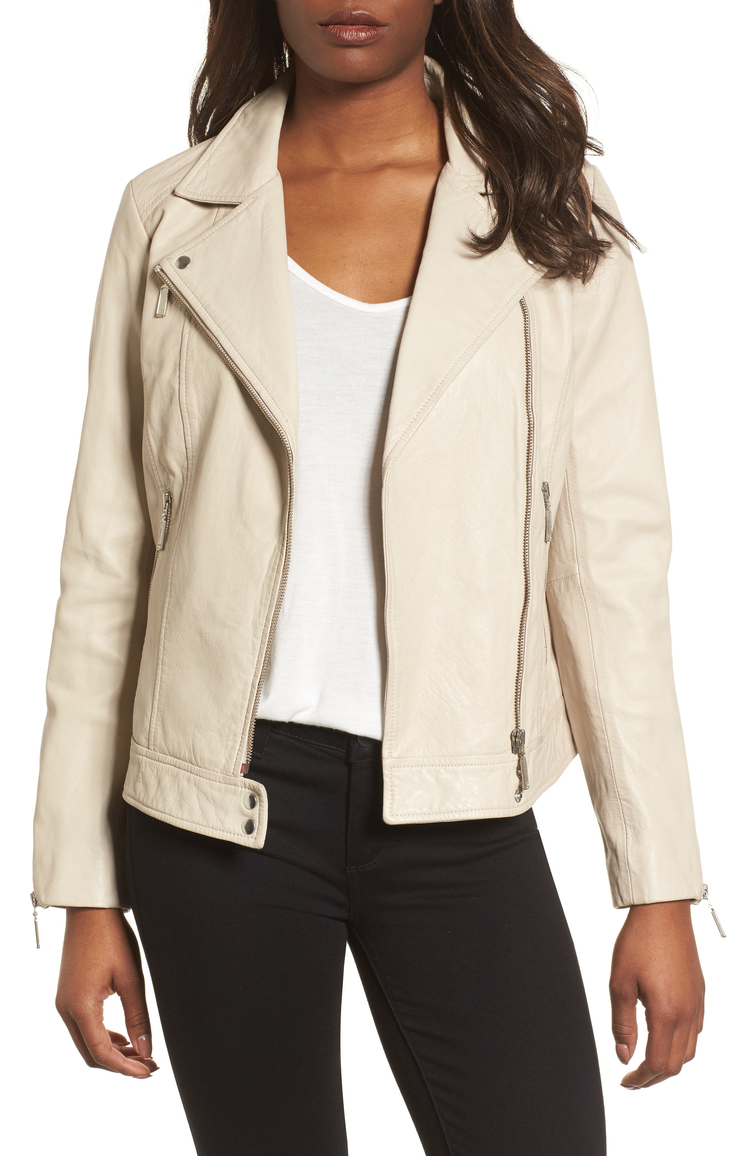 Moto Zip Leather Jacket,                         Main,                         color, Champagne