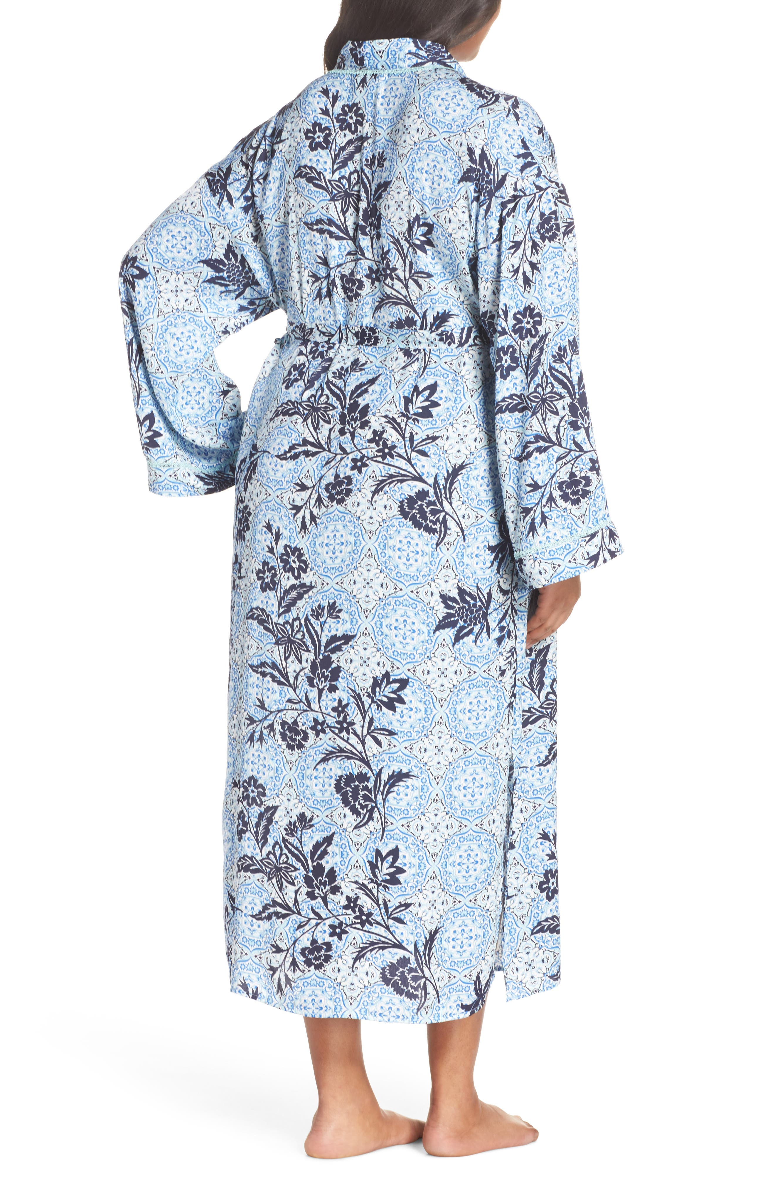 Sweet Dreams Satin Robe,                             Alternate thumbnail 2, color,                             Blue Palace Tile Floral