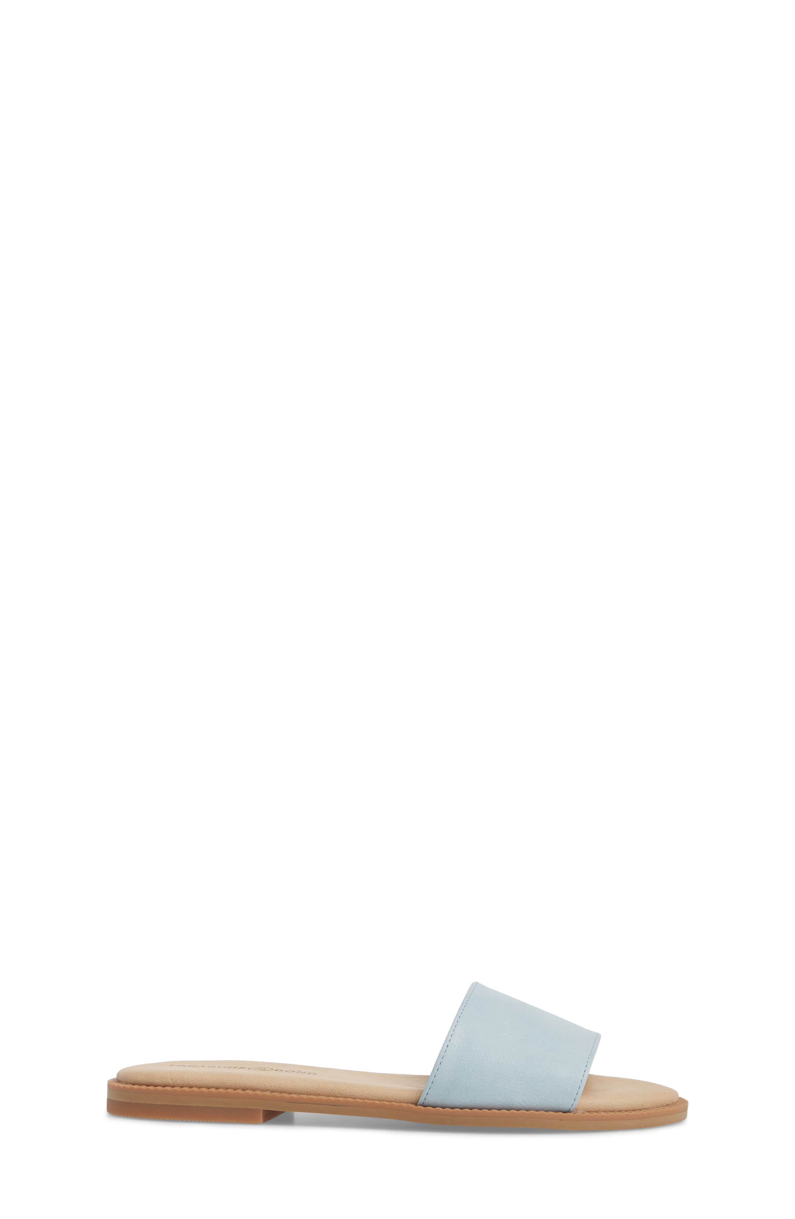 Mia Slide Sandal,                             Alternate thumbnail 3, color,                             Aqua Faux Leather