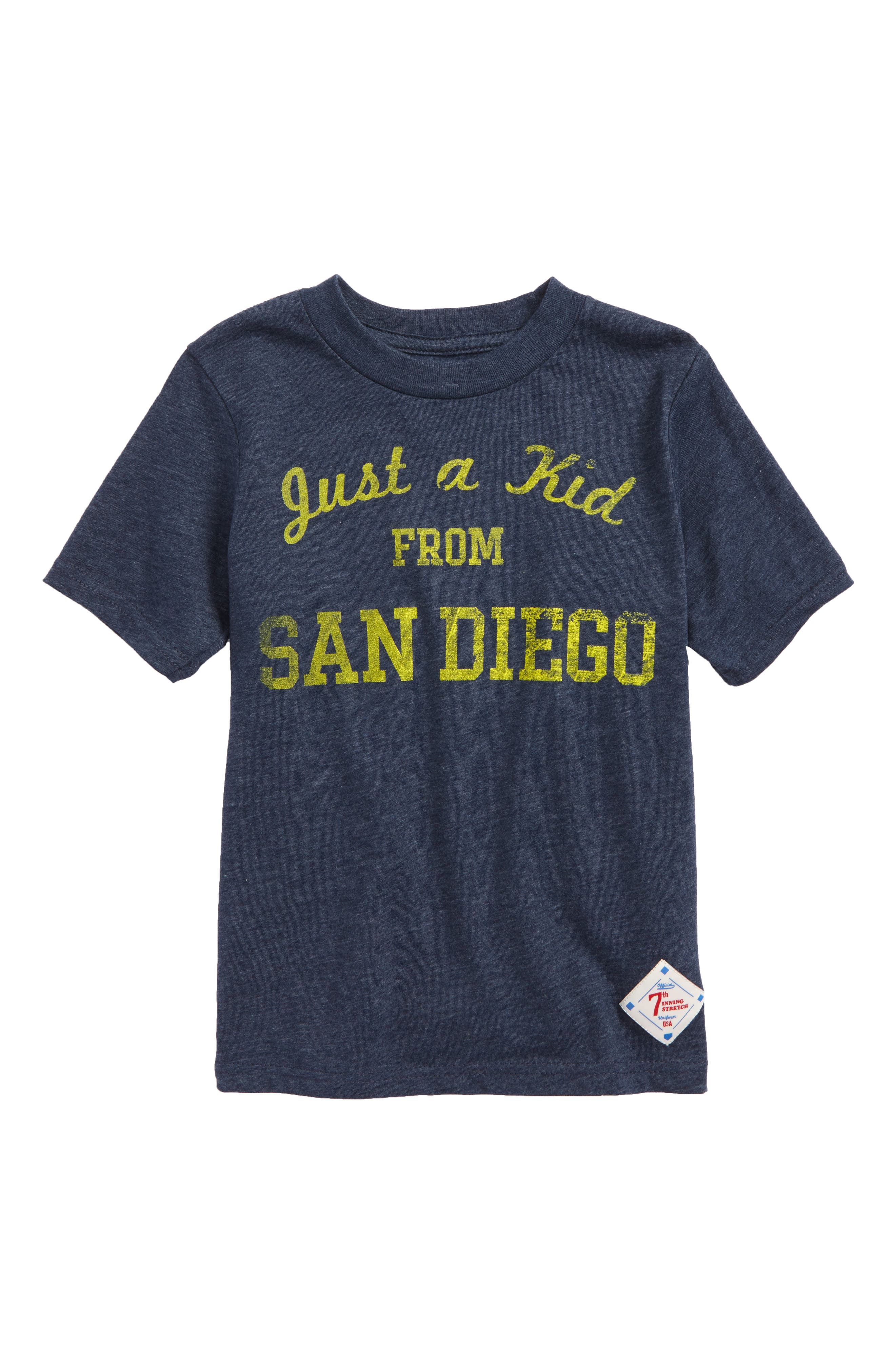 Just a Kid from San Diego Graphic T-Shirt,                             Main thumbnail 1, color,                             Navy/ Gold