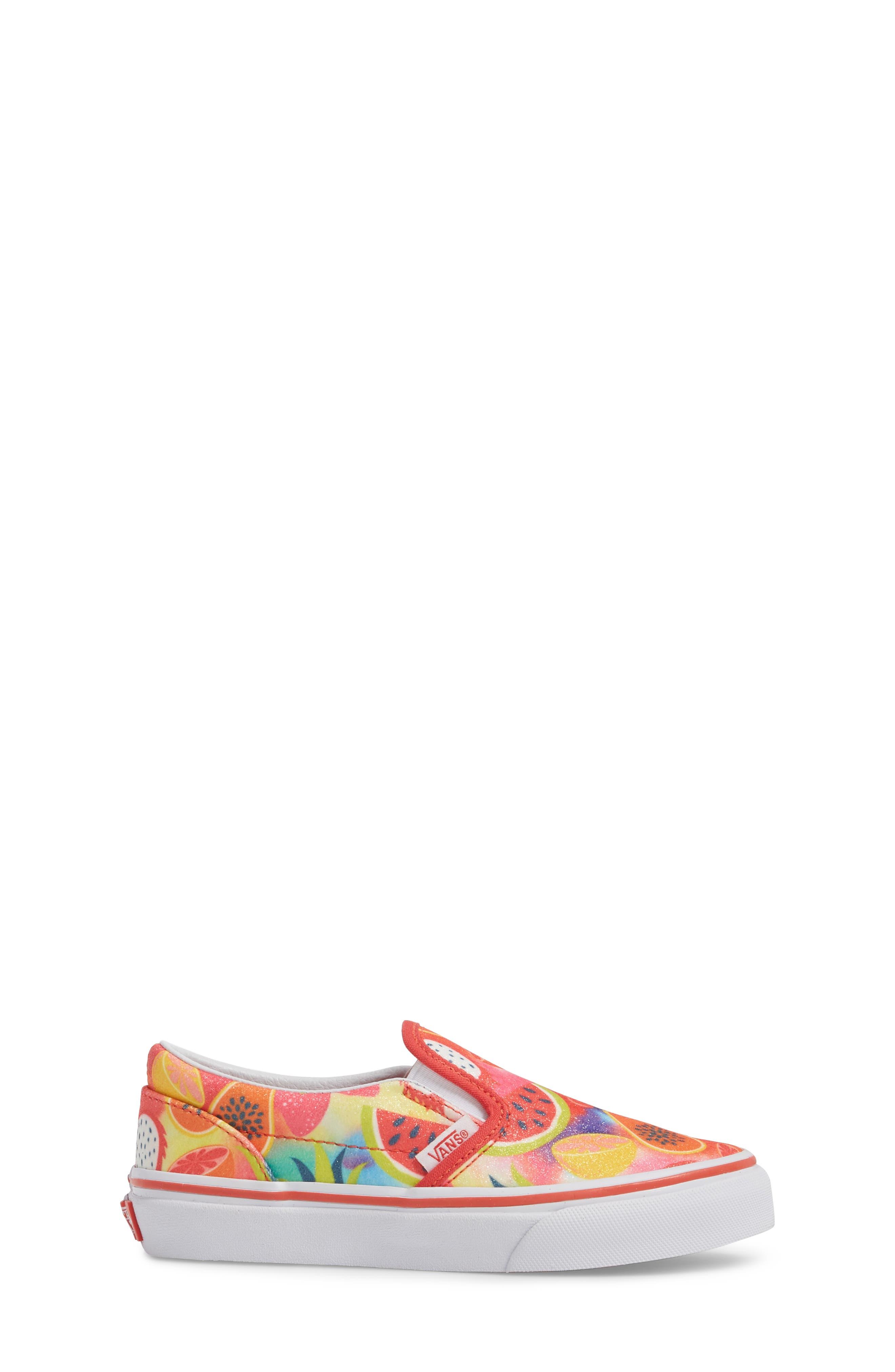 Classic Glitter Fruit Slip-On Sneaker,                             Alternate thumbnail 3, color,                             White/ Multi Glitter Fruits