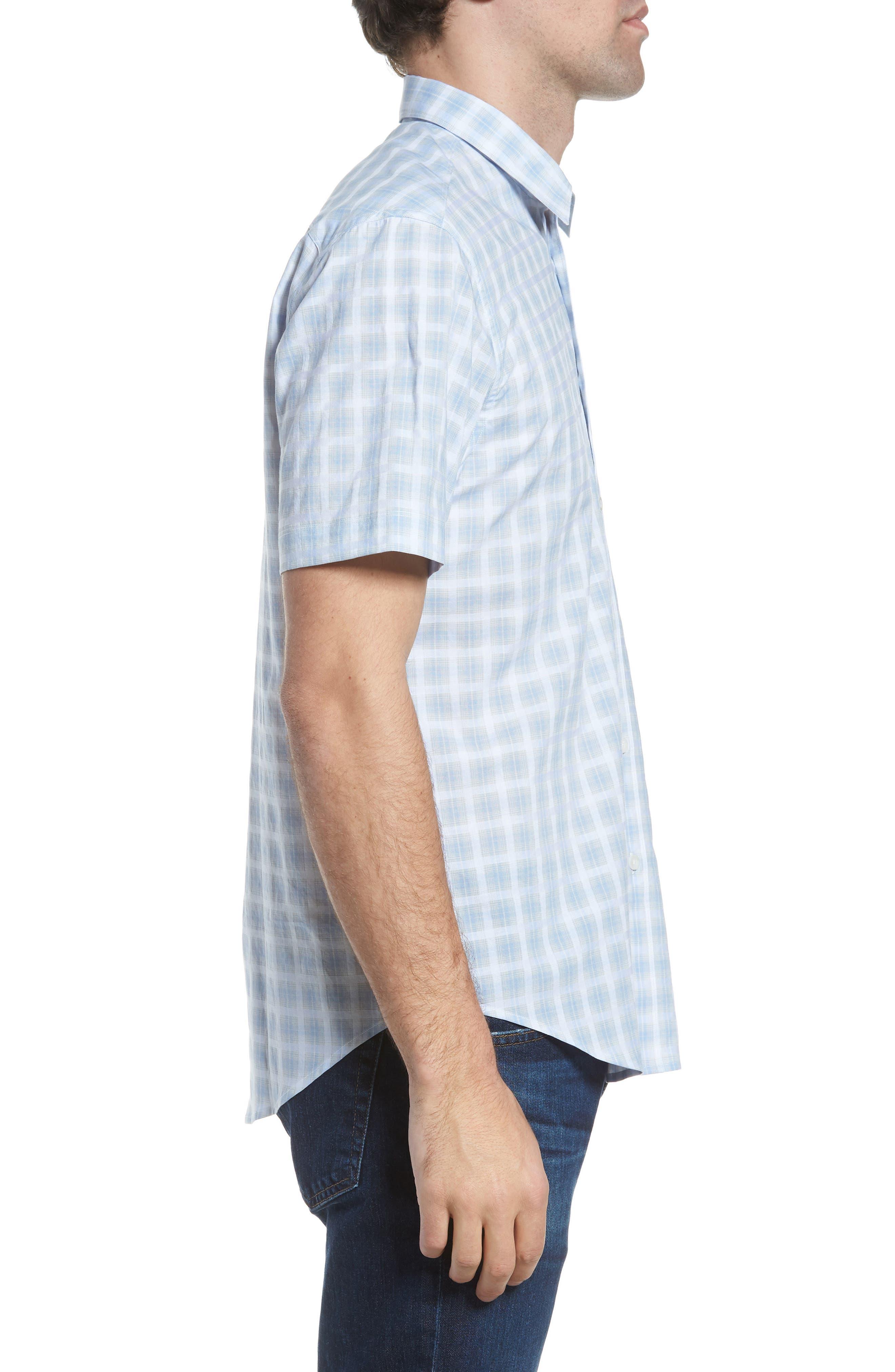 Ponto Regular Fit Check Sport Shirt,                             Alternate thumbnail 4, color,                             Sky