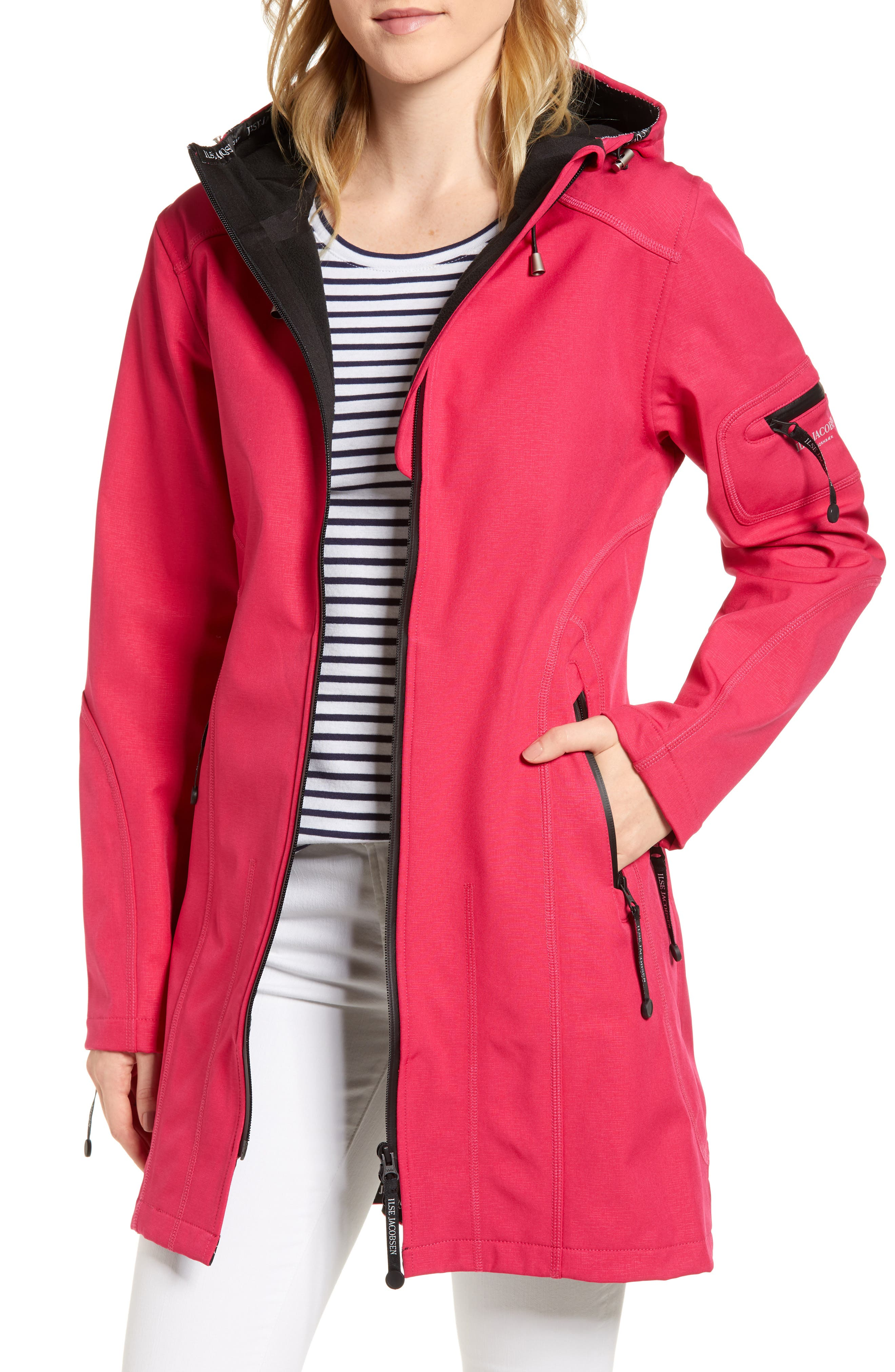 Rain 7 Hooded Water Resistant Coat,                         Main,                         color, Warm Pink