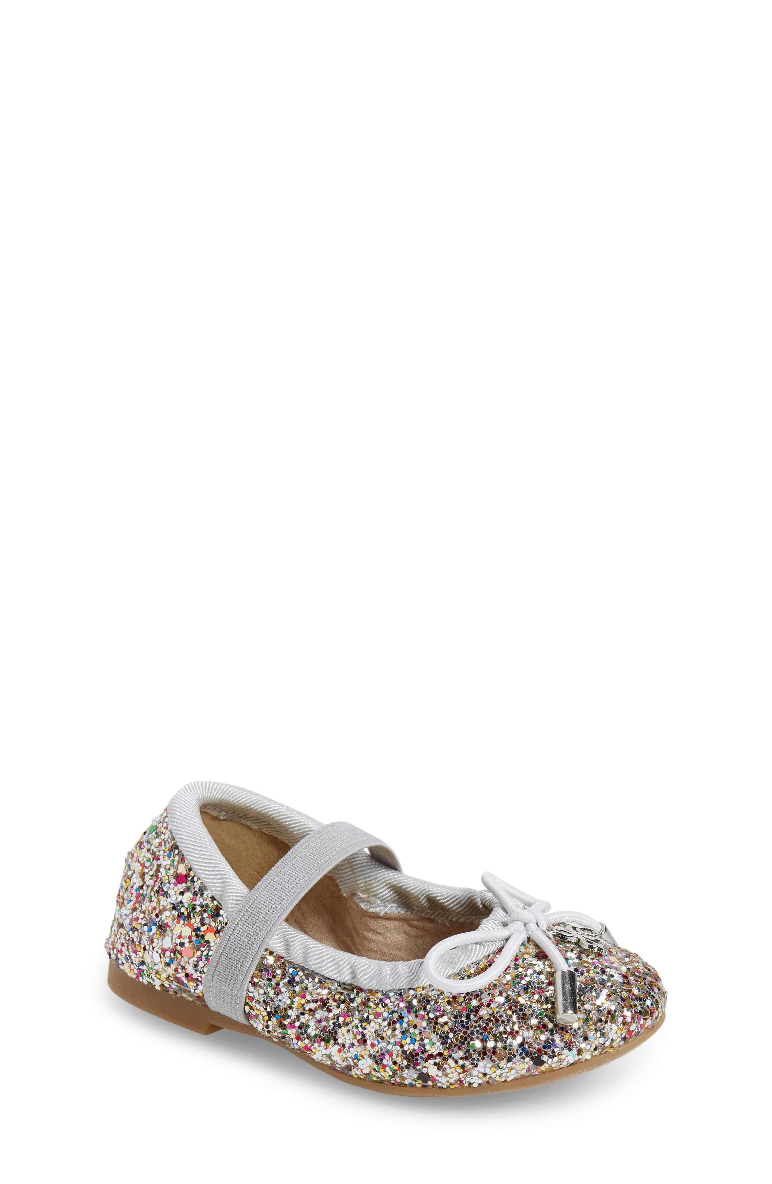 'Felicia' Mary Jane Ballet Flat,                             Main thumbnail 1, color,                             Silver Multi Glitter