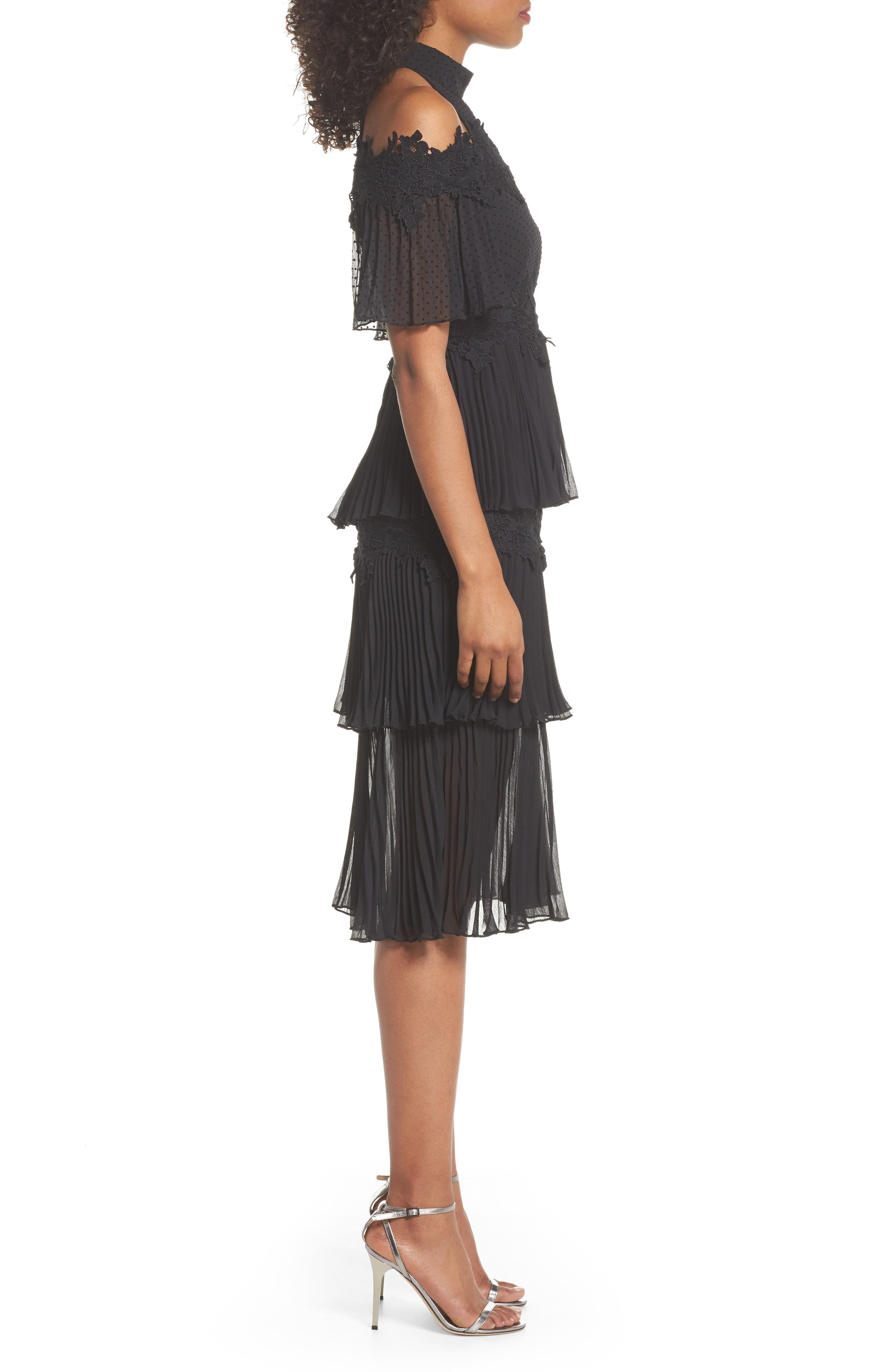 Horizons Cold Shoulder Dress,                             Alternate thumbnail 3, color,                             Black
