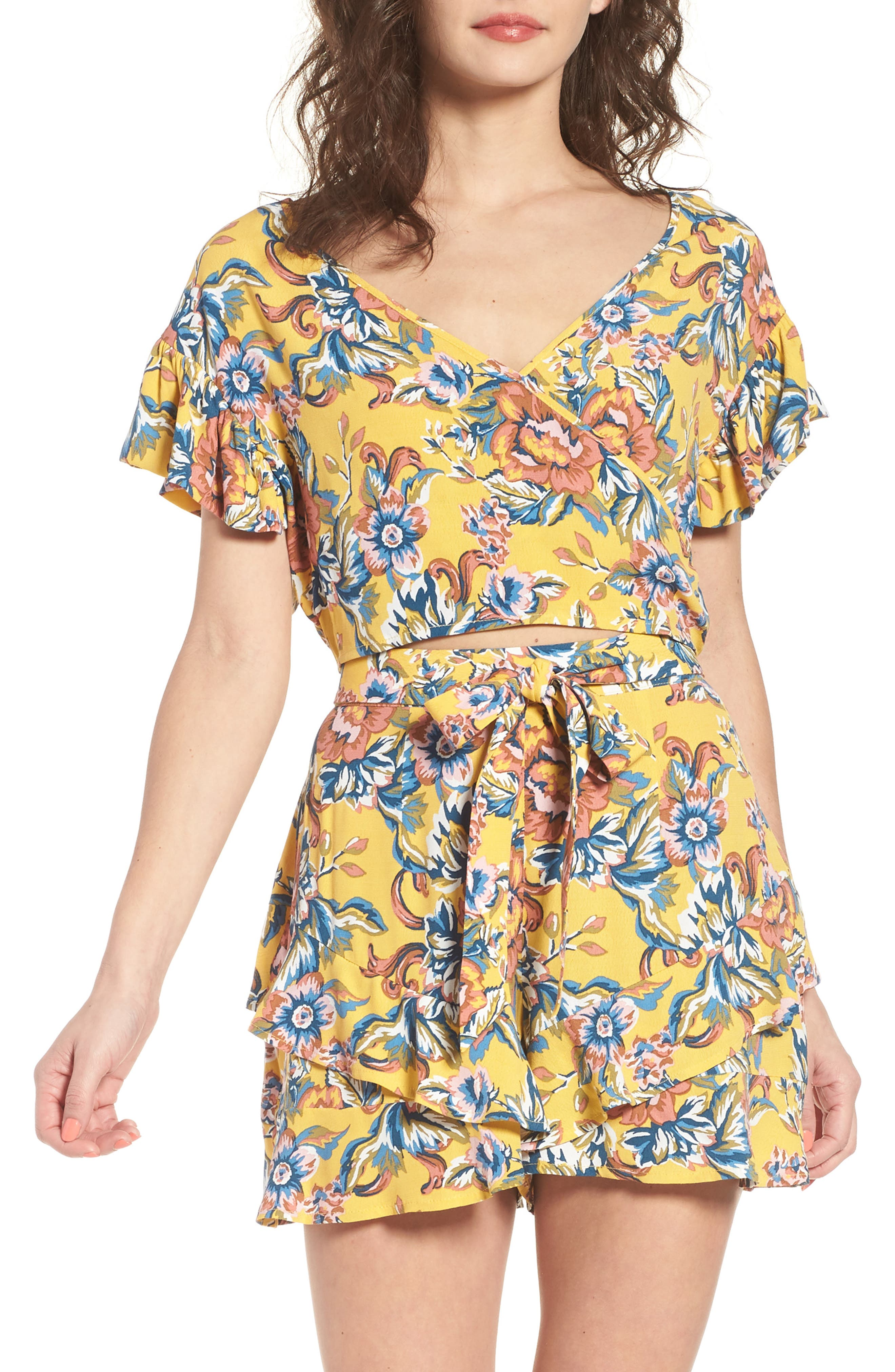 Floral Surplice Crop Top,                         Main,                         color, Yellow Ochre Tapestry Floral