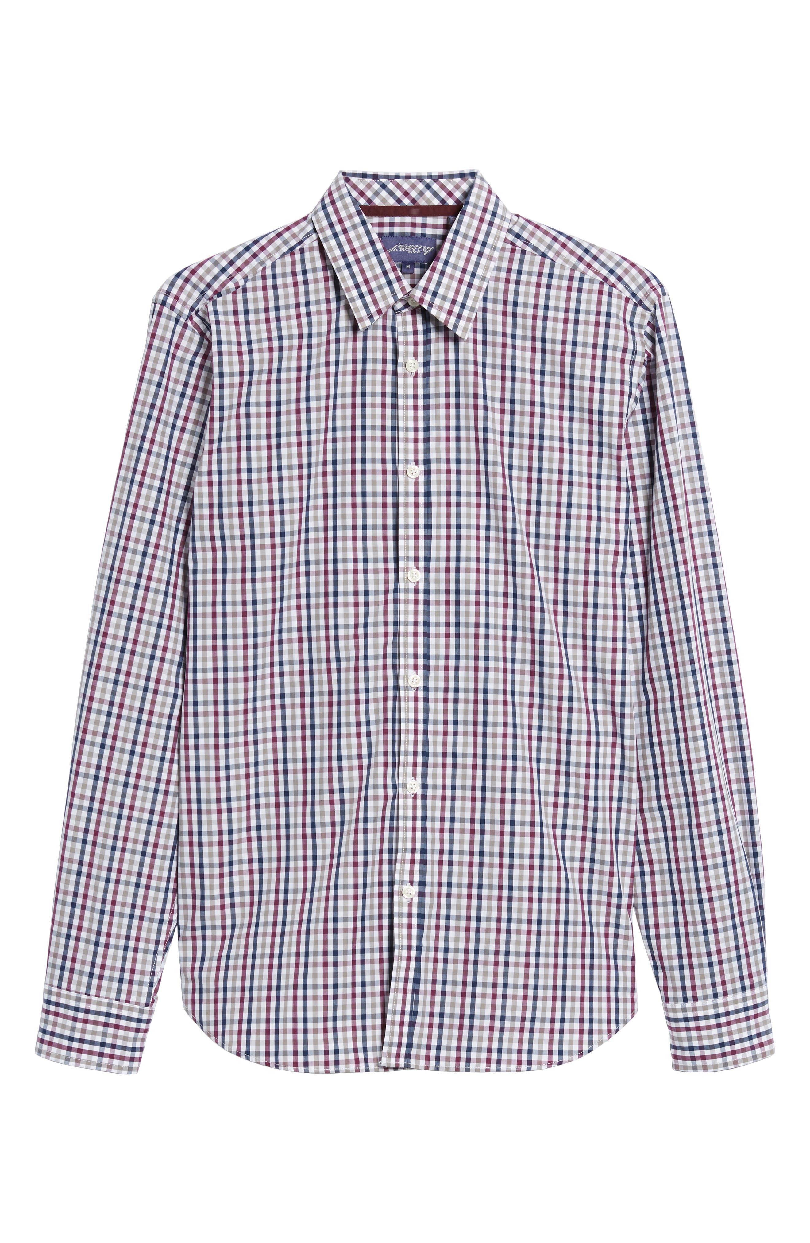 Slim Fit Check Sport Shirt,                             Alternate thumbnail 6, color,                             Dark Red