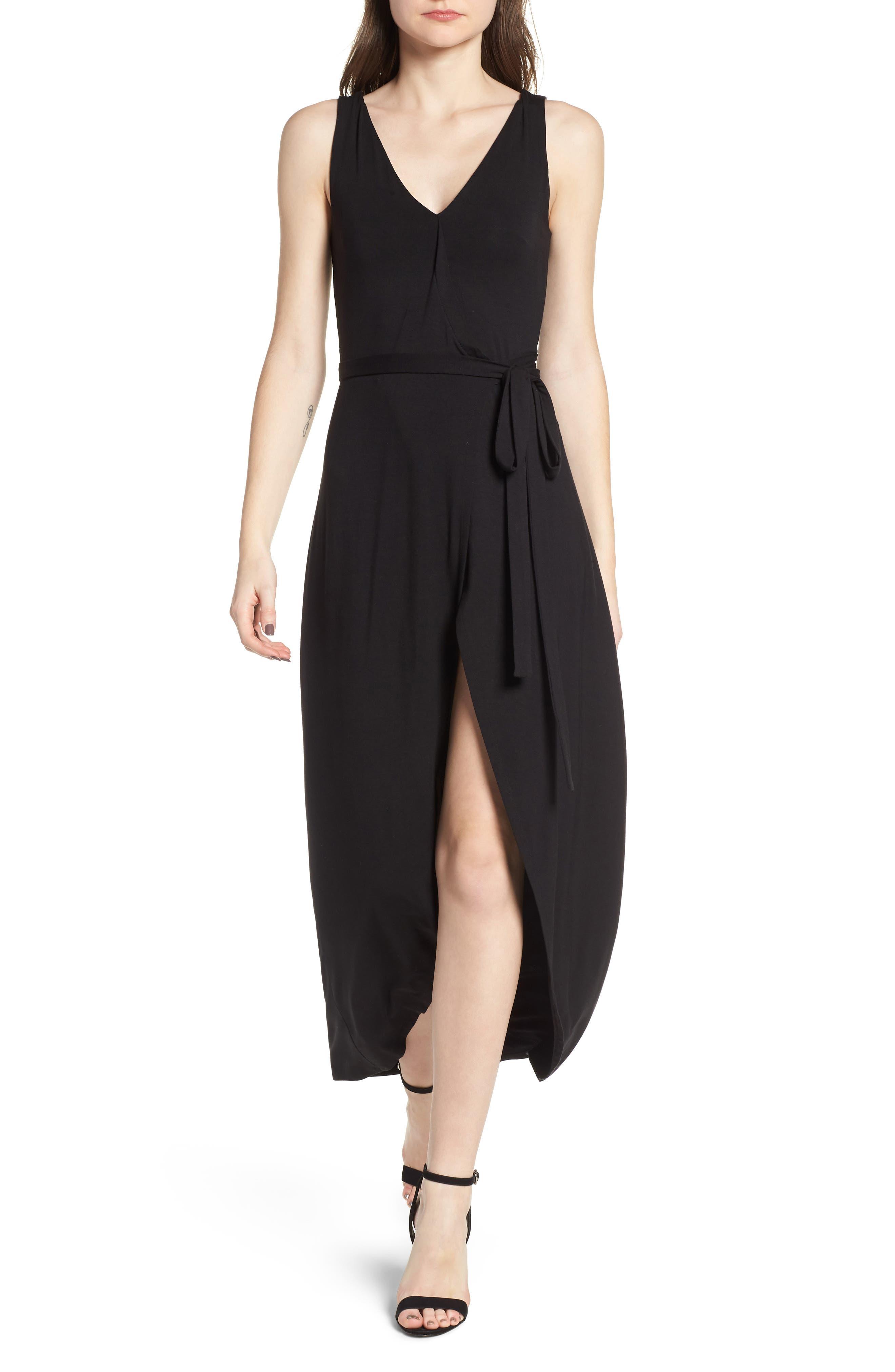 Knit Maxi Dress,                             Main thumbnail 1, color,                             Black