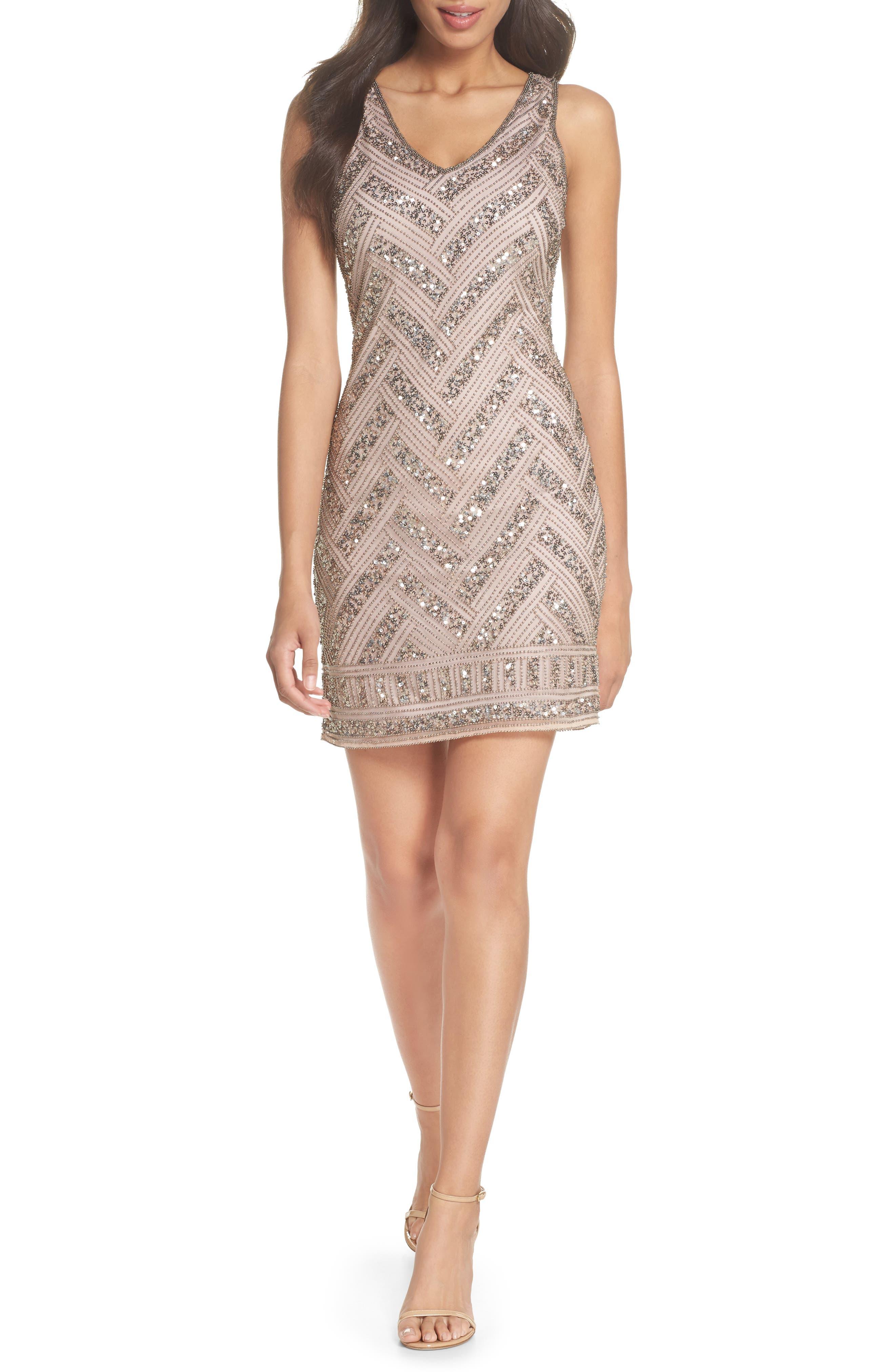 Beaded V-Neck Sheath Dress,                         Main,                         color, Light Lavender