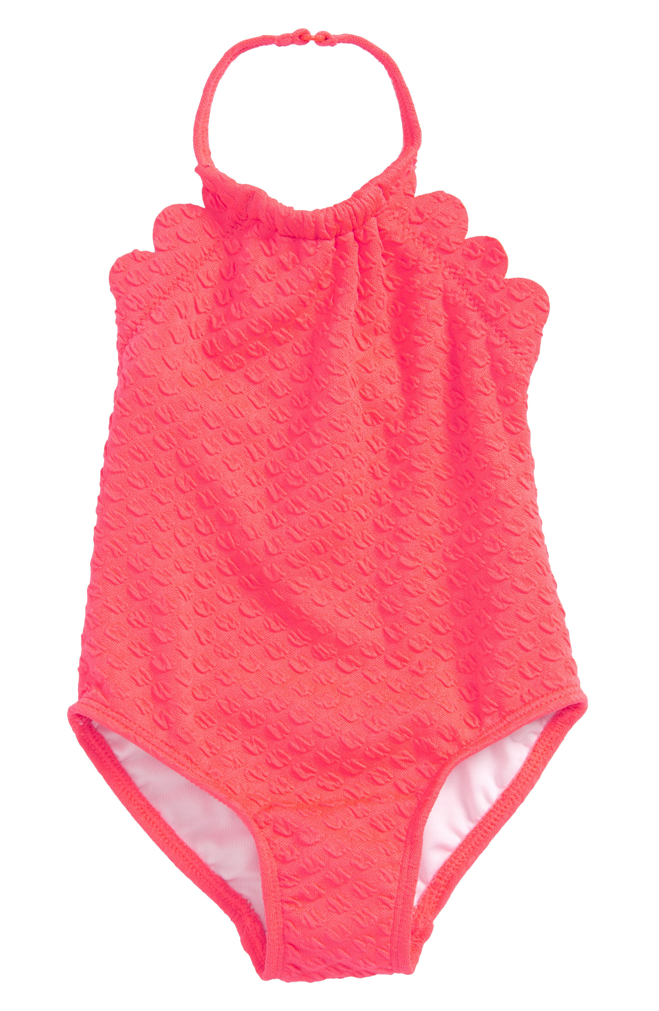 scalloped one-piece swimsuit,                         Main,                         color, Surprise Coral