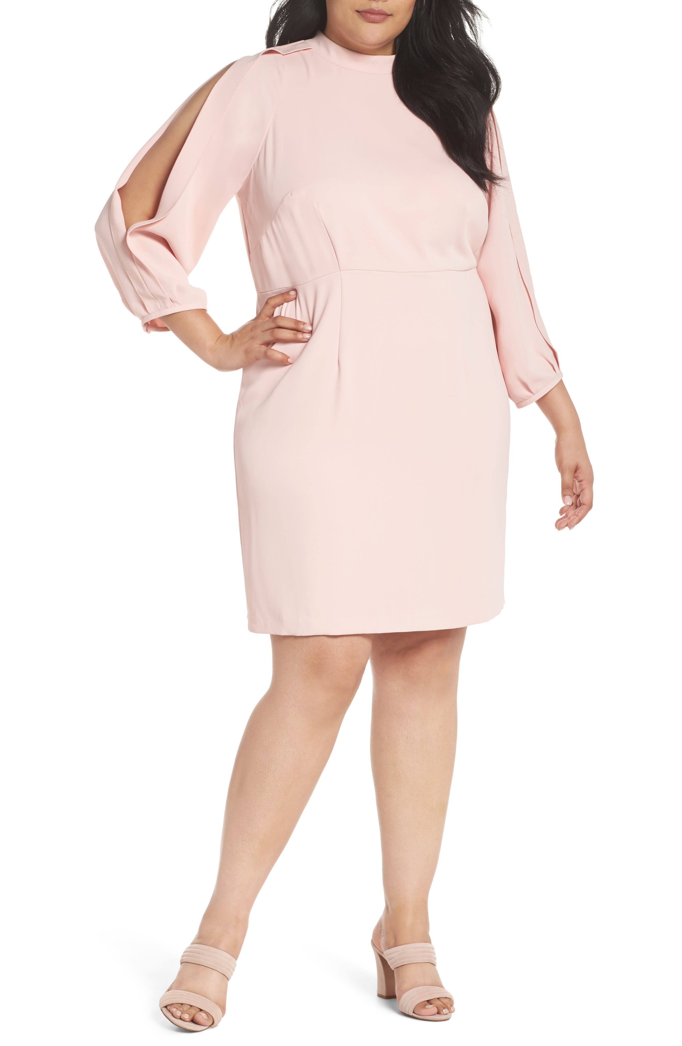 Mock Neck Split Sleeve Dress,                             Main thumbnail 1, color,                             Pink Primrose