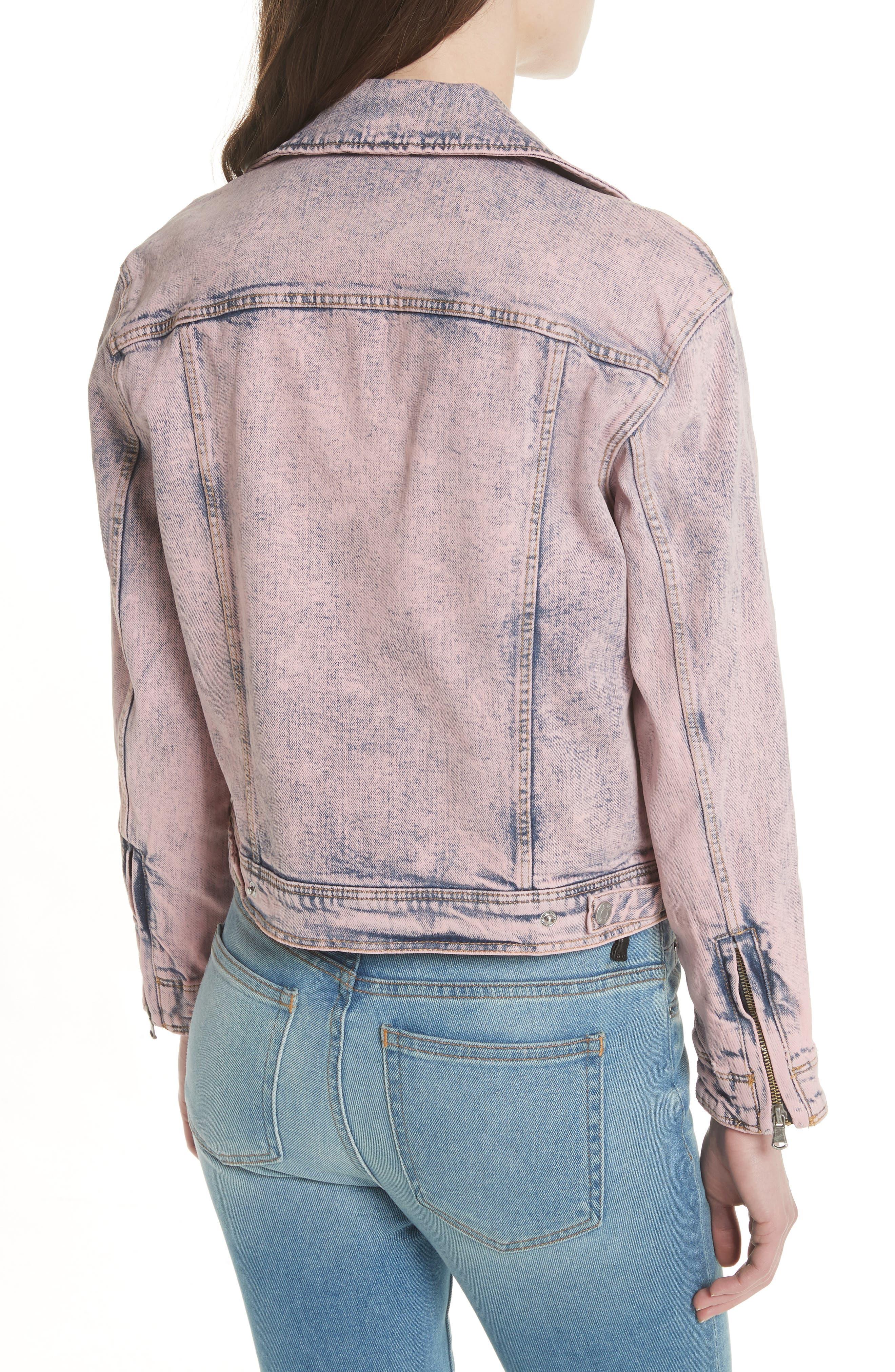 Denim Moto Jacket,                             Alternate thumbnail 3, color,                             Pink Overdyed Acid Wash