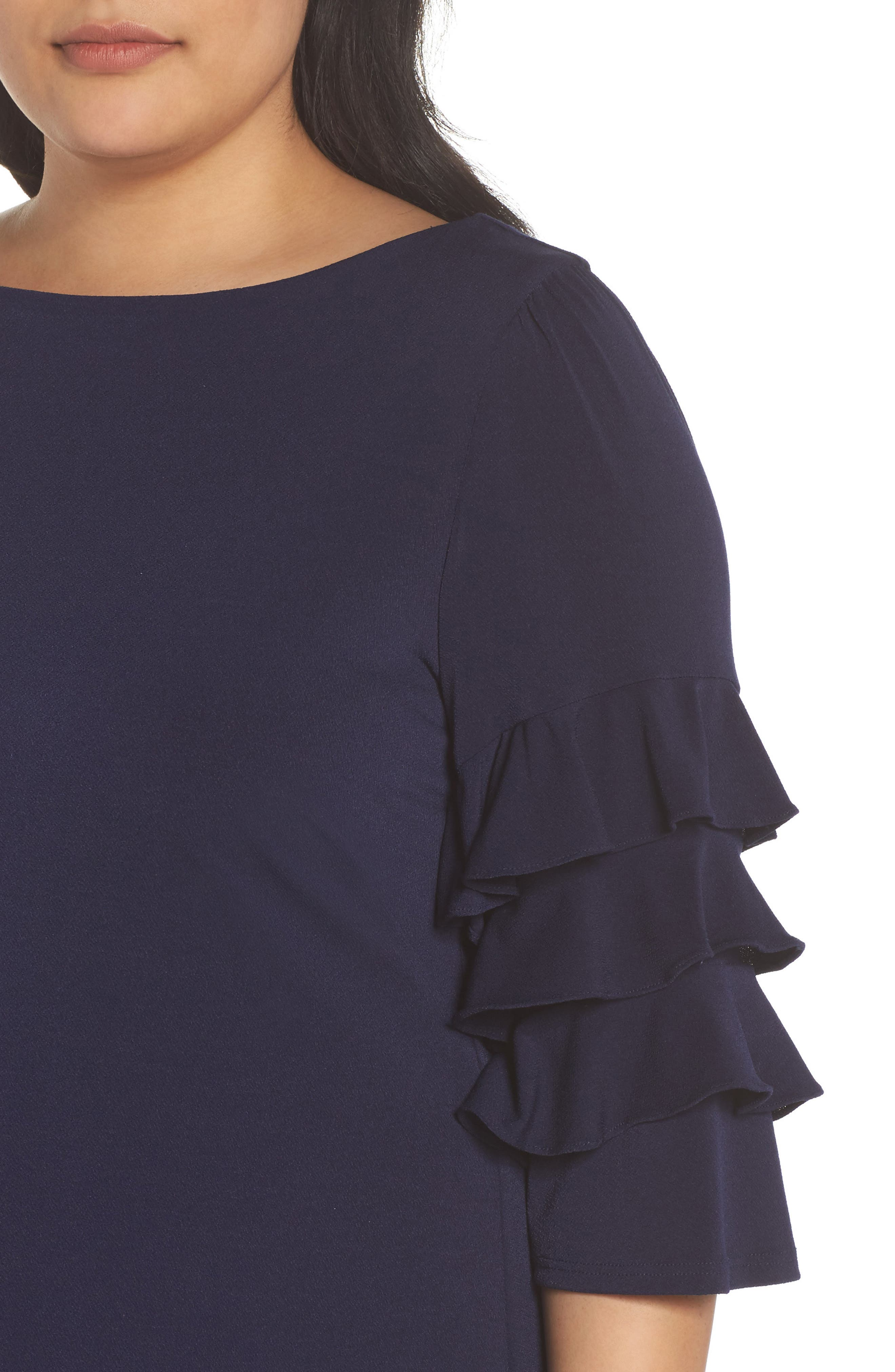 Tiered Ruffle Sleeve Shift Dress,                             Alternate thumbnail 4, color,                             Navy