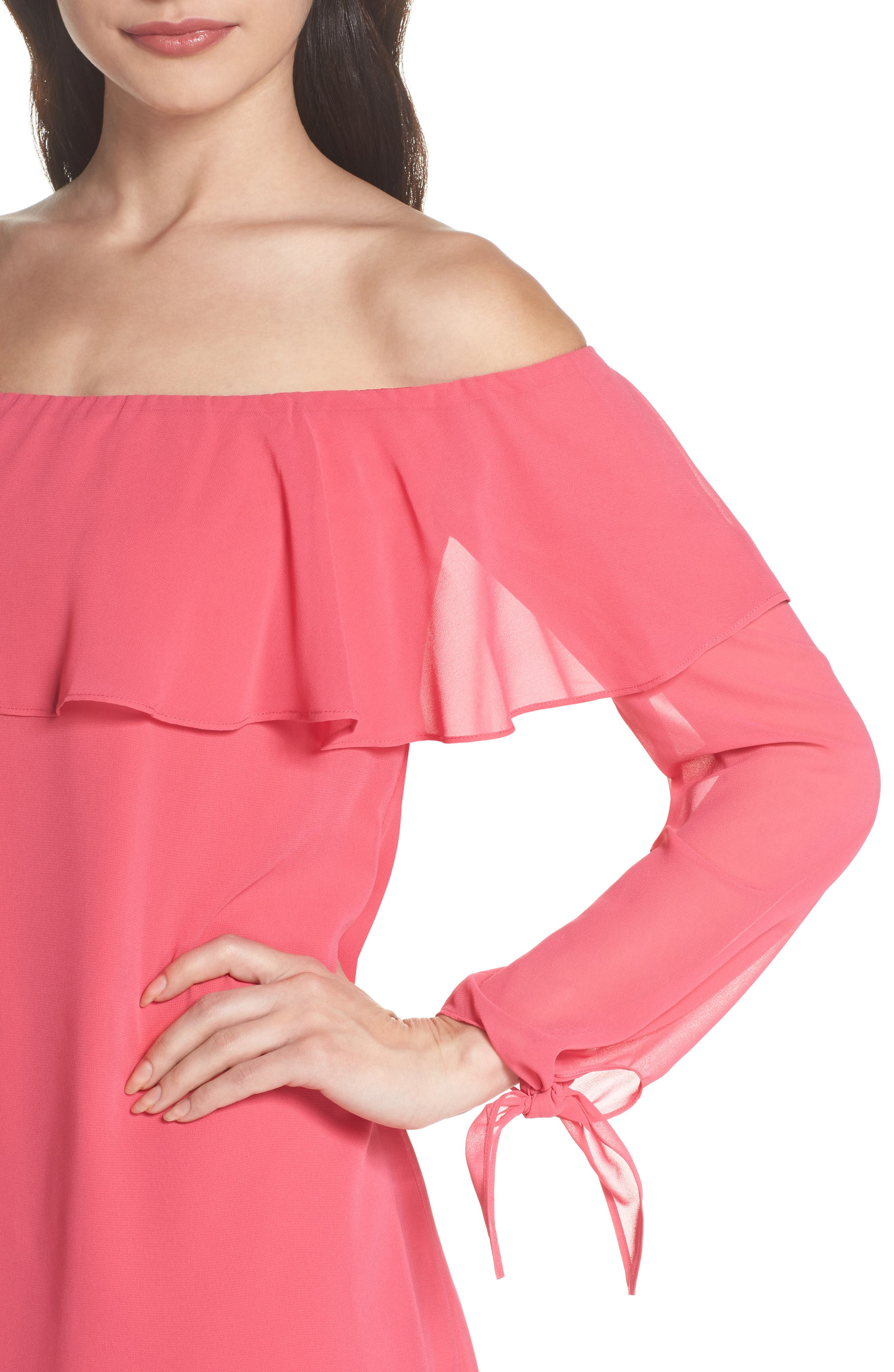 Off the Shoulder Tie-Cuff Shift Dress,                             Alternate thumbnail 4, color,                             Hot Pink