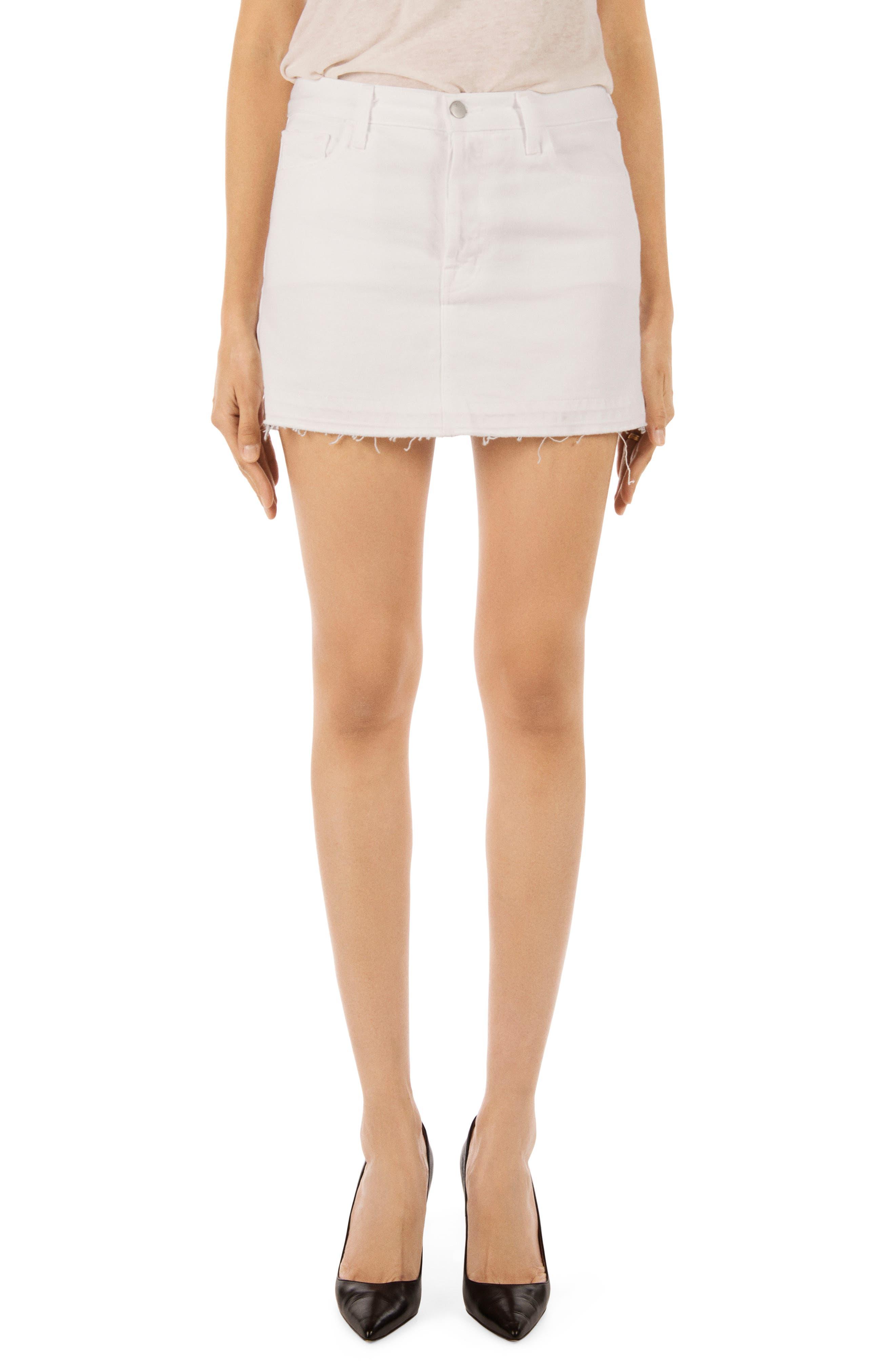 J Brand Bonny Mid Rise Cutoff Denim Miniskirt