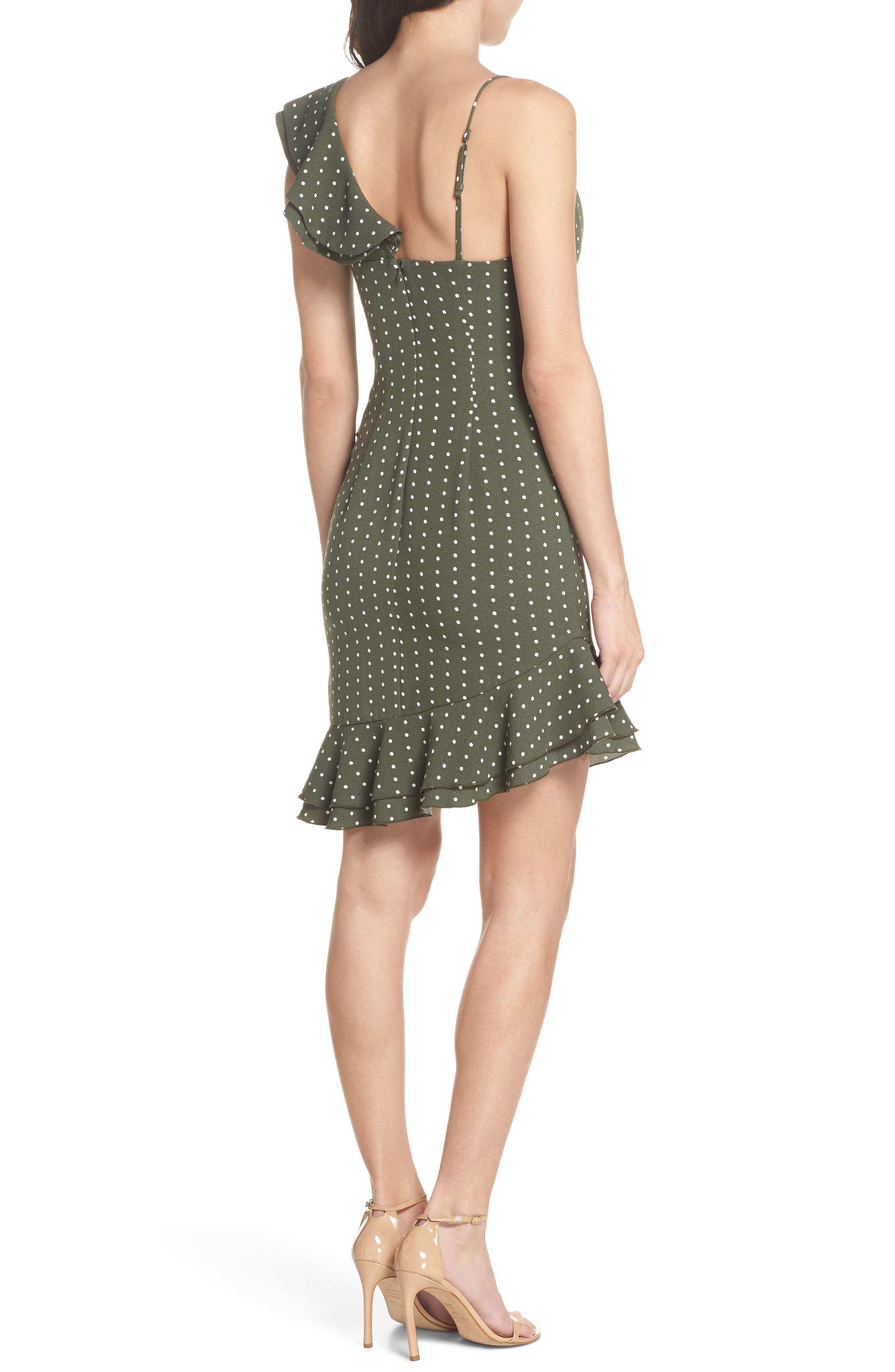 Entice Dot Ruffle Trim Dress,                             Alternate thumbnail 2, color,                             Khaki W Ivory Spot