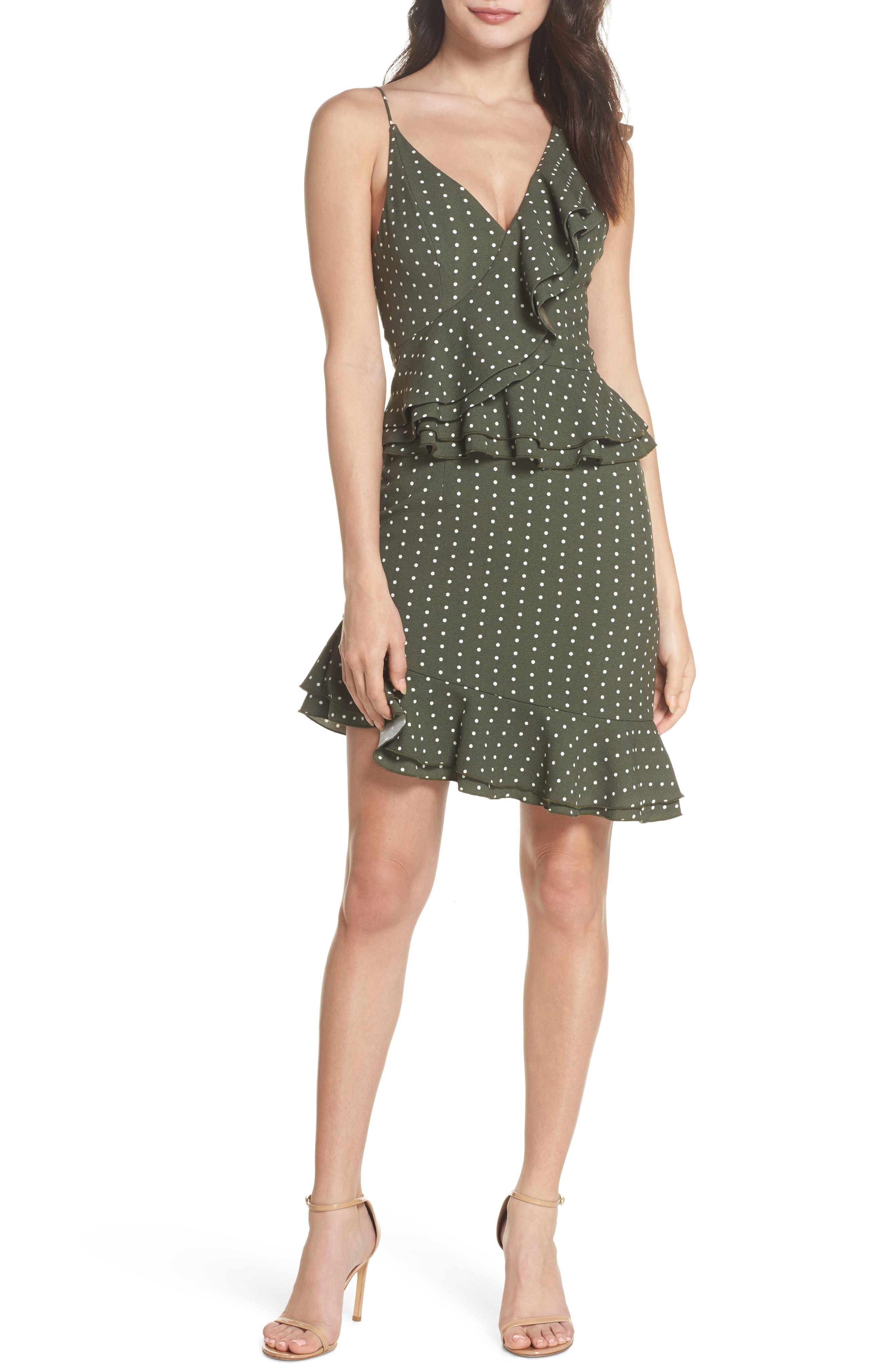 Entice Dot Ruffle Trim Dress,                             Main thumbnail 1, color,                             Khaki W Ivory Spot