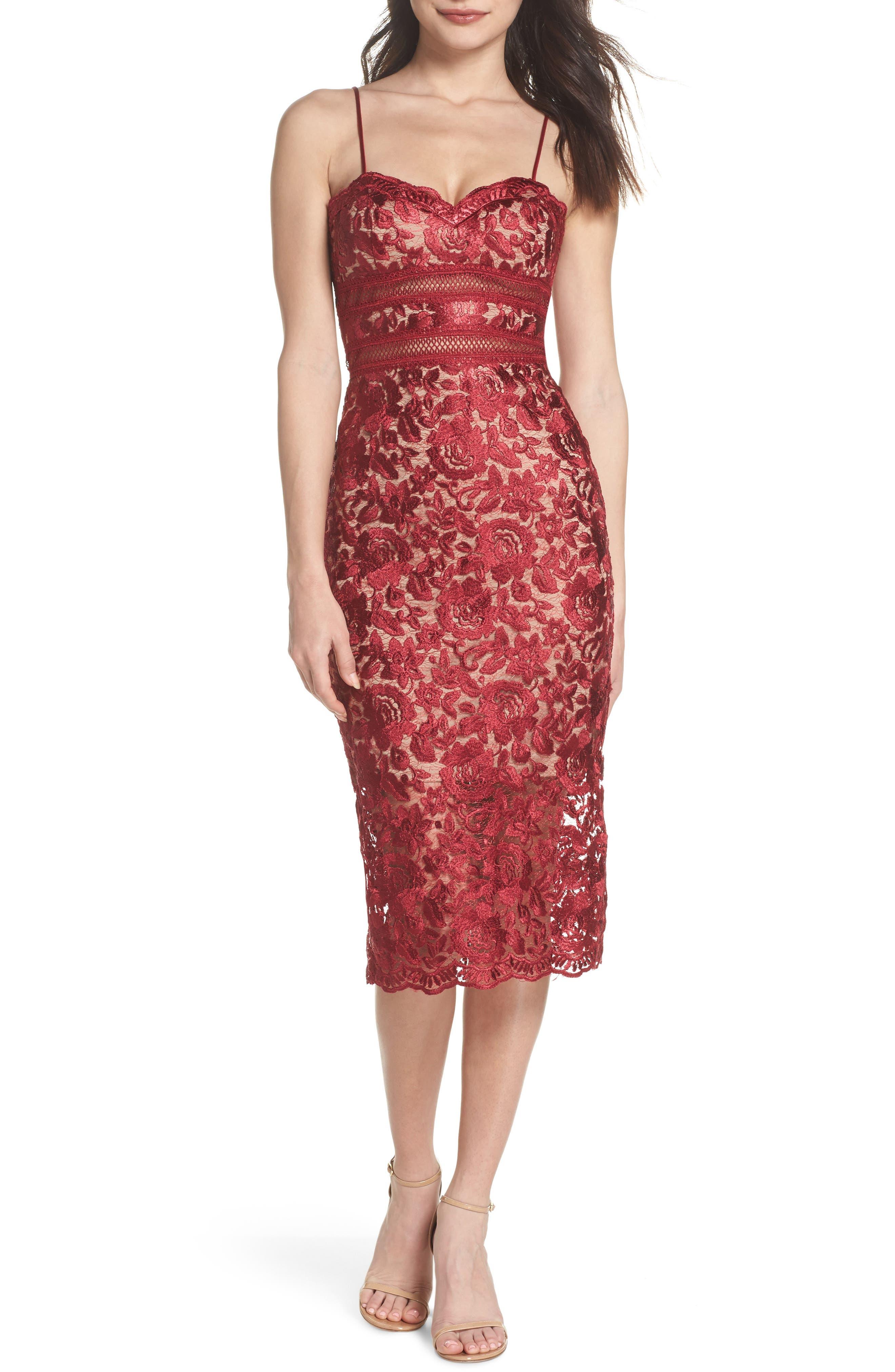 Lace Midi Dress,                             Main thumbnail 1, color,                             Red/ Mocha