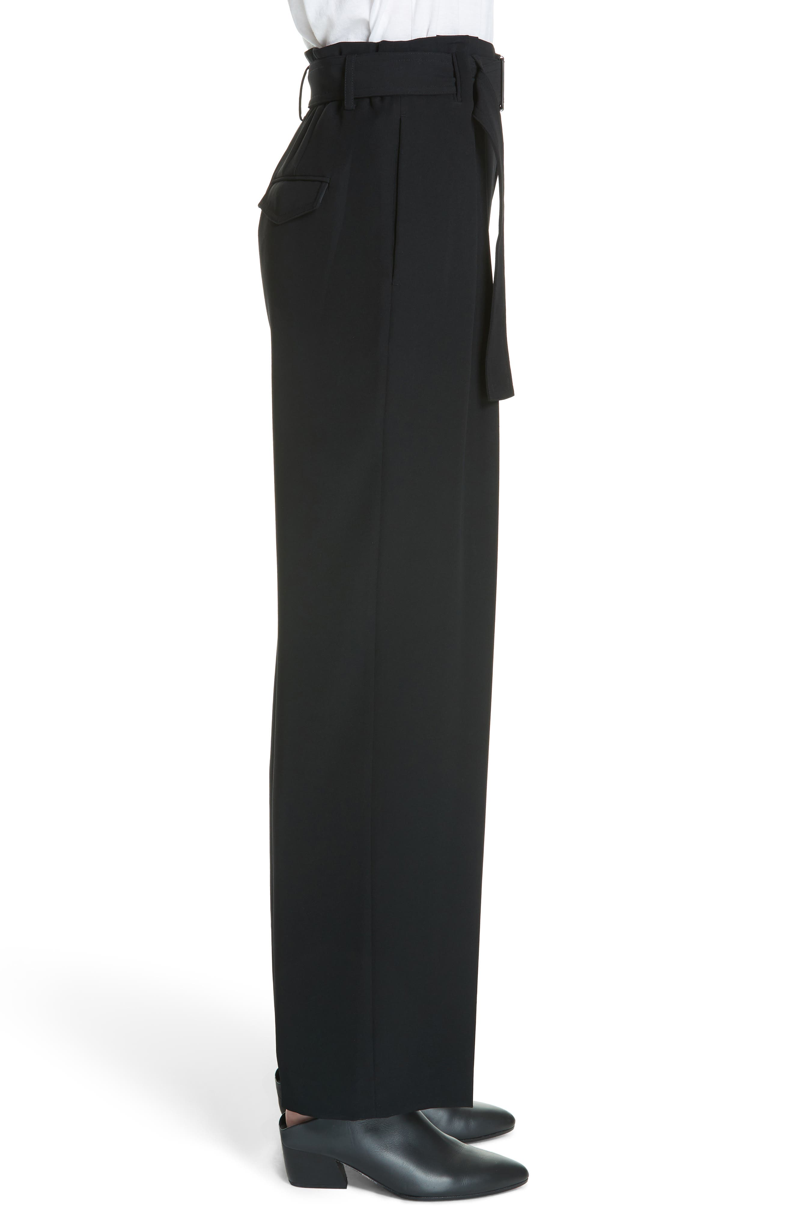 Belted Wide Leg Pants,                             Alternate thumbnail 3, color,                             Black