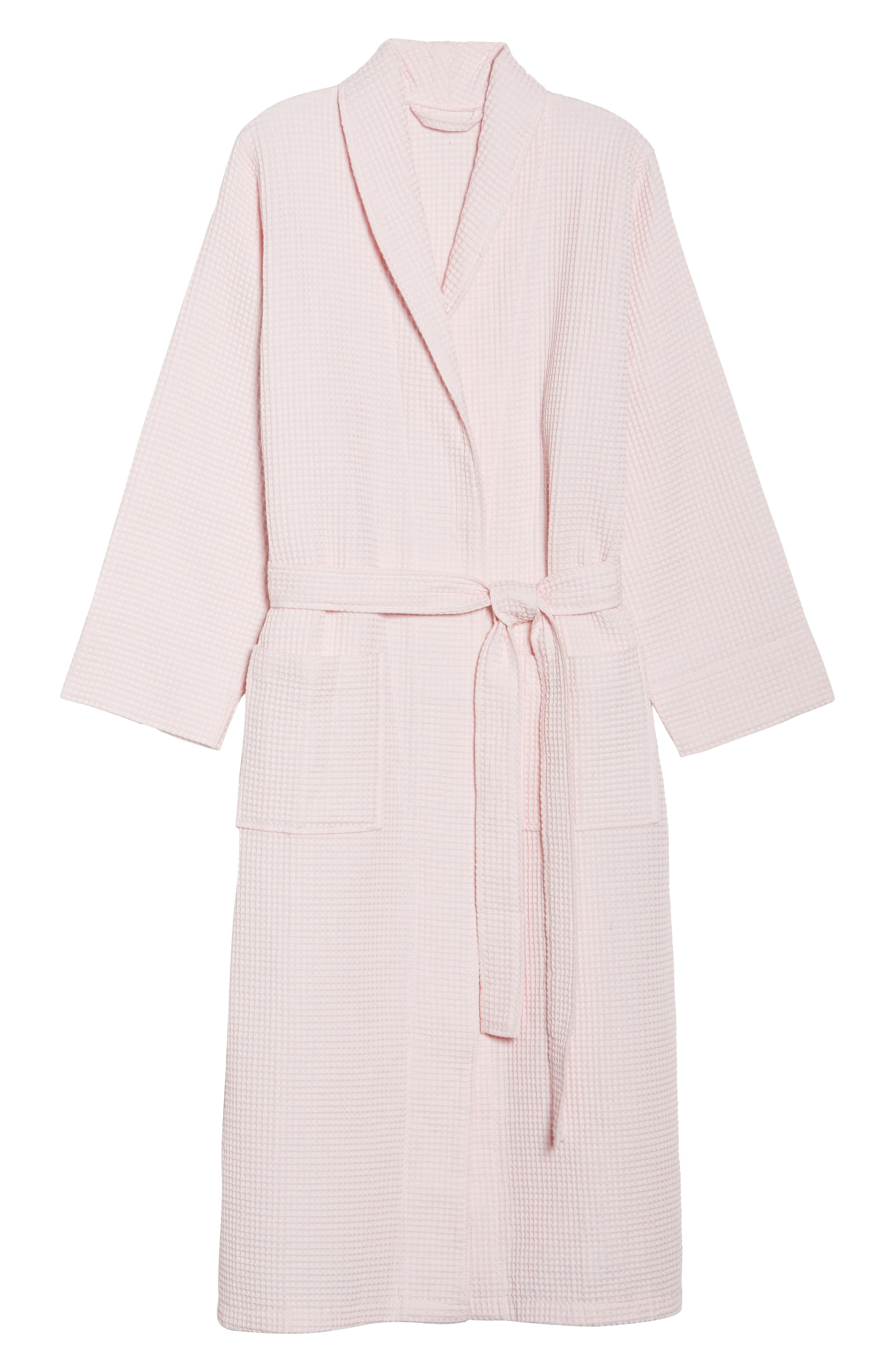 Waffle Knit Cotton Robe,                             Alternate thumbnail 4, color,                             Ice Pink