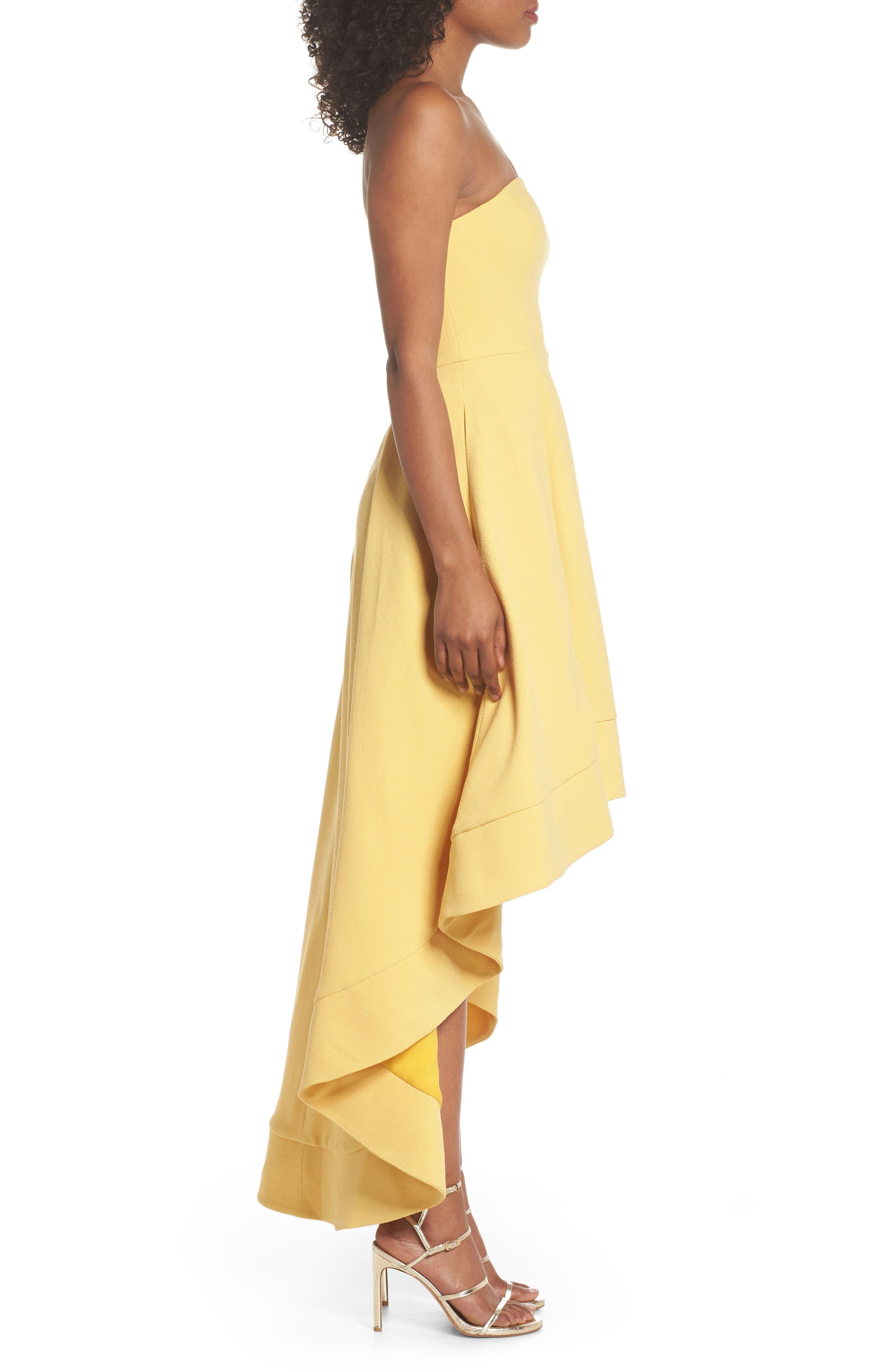 Entice Strapless Crepe Gown,                             Alternate thumbnail 3, color,                             Honey