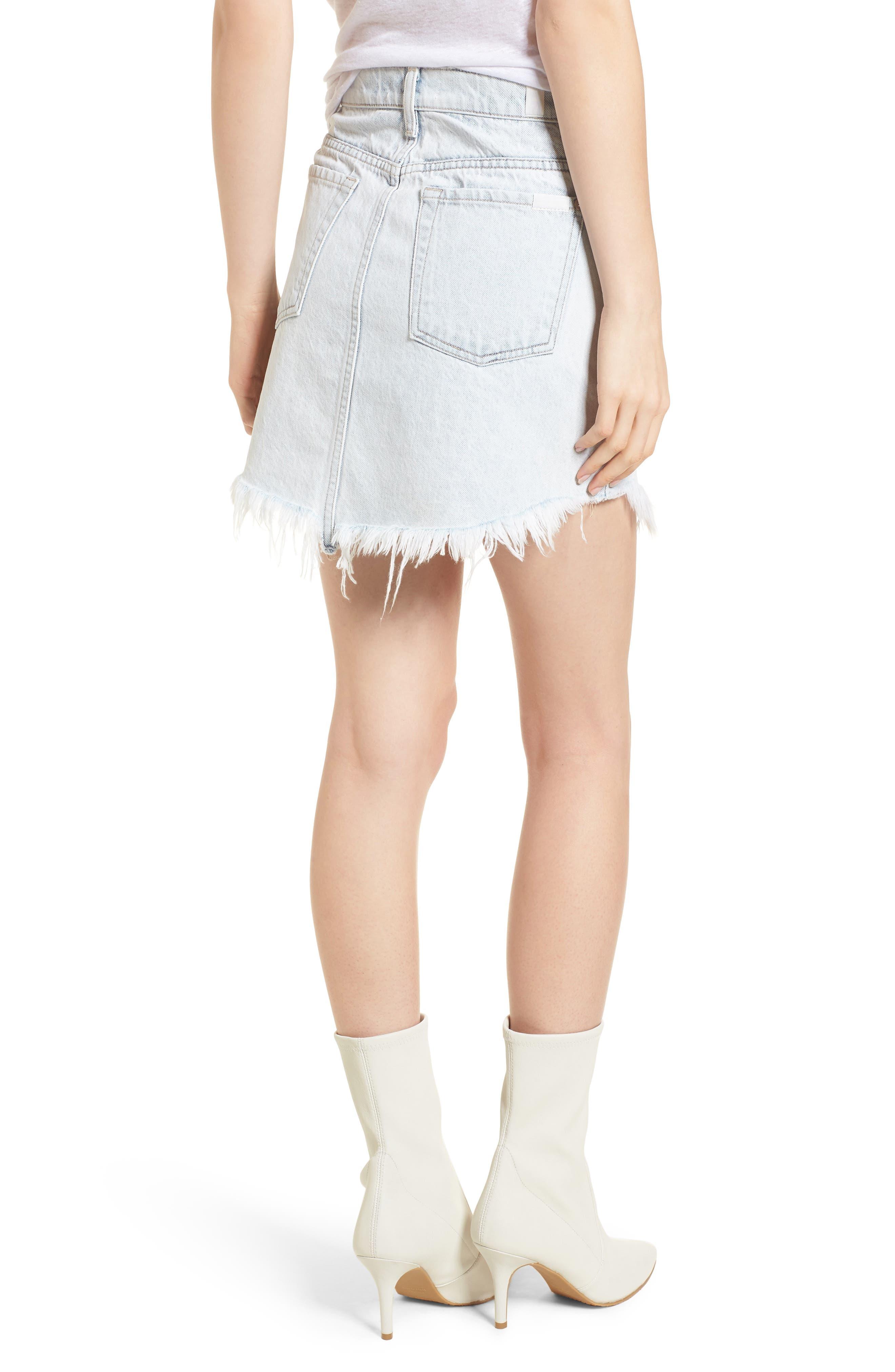 Scallop Fray Hem Denim Skirt,                             Alternate thumbnail 2, color,                             Desert Sun Bleached
