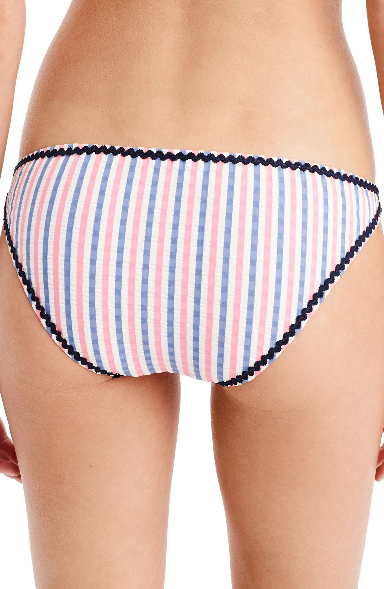 Surf Hipster Bikini Bottoms,                             Alternate thumbnail 2, color,                             White/ Blue/ Pink