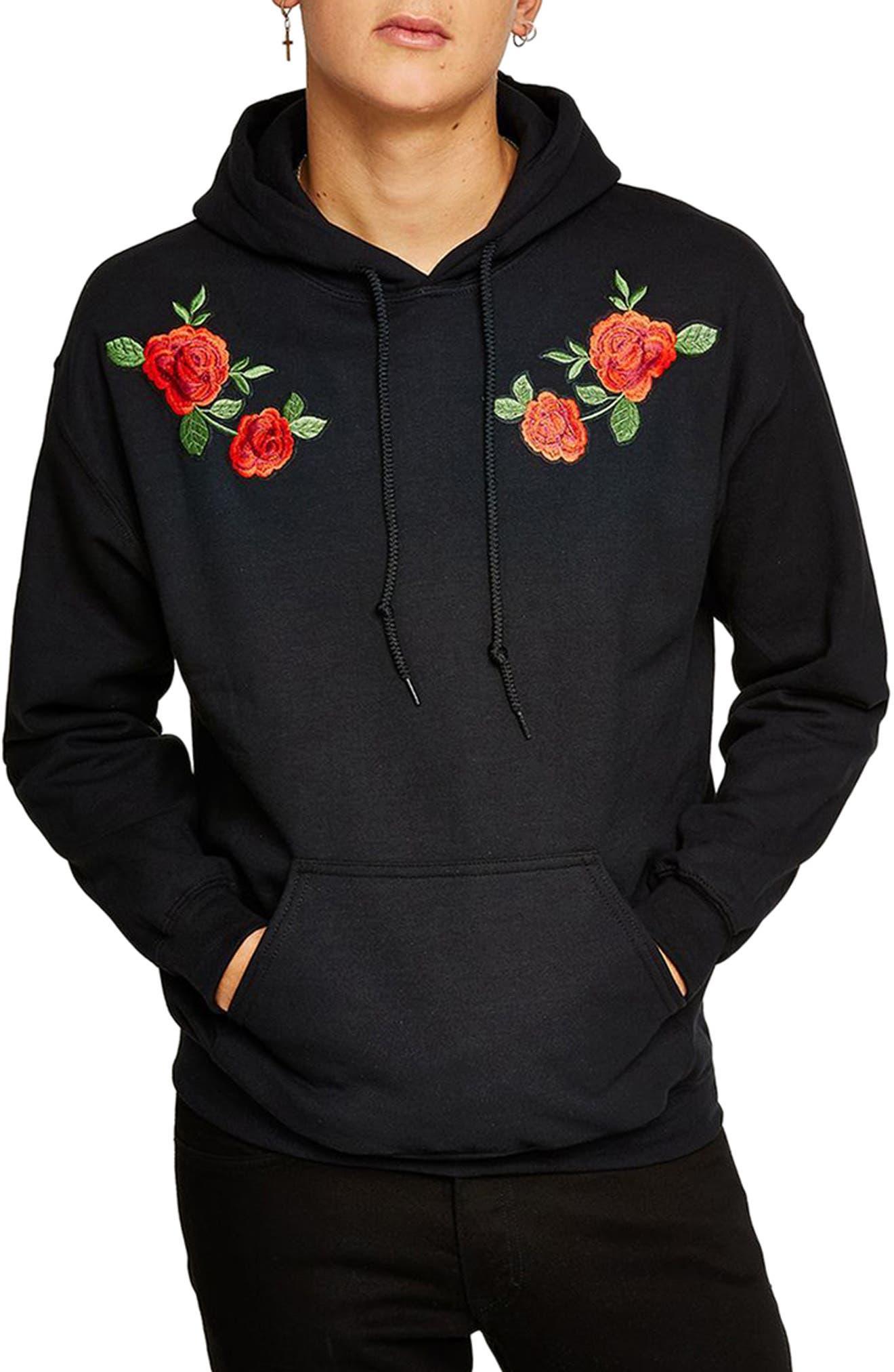 Rose Hoodie,                         Main,                         color, Black Multi