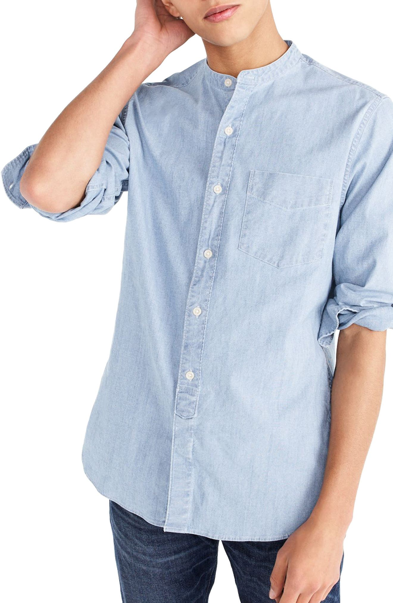J.Crew Stretch Chambray Band Collar Shirt,                         Main,                         color, Indigo