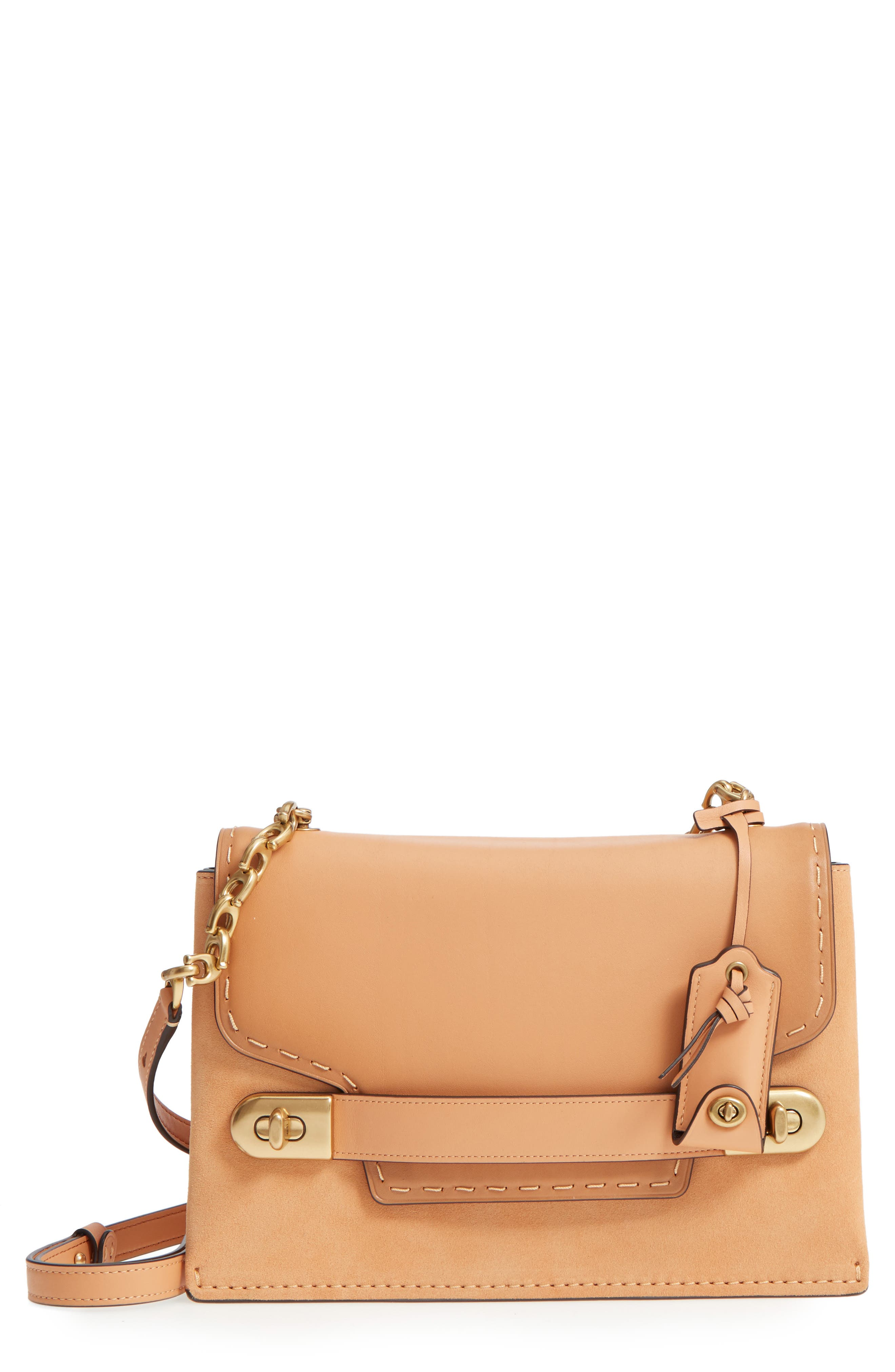 Swagger Chain Leather Crossbody Bag,                             Main thumbnail 1, color,                             Apricot Sand