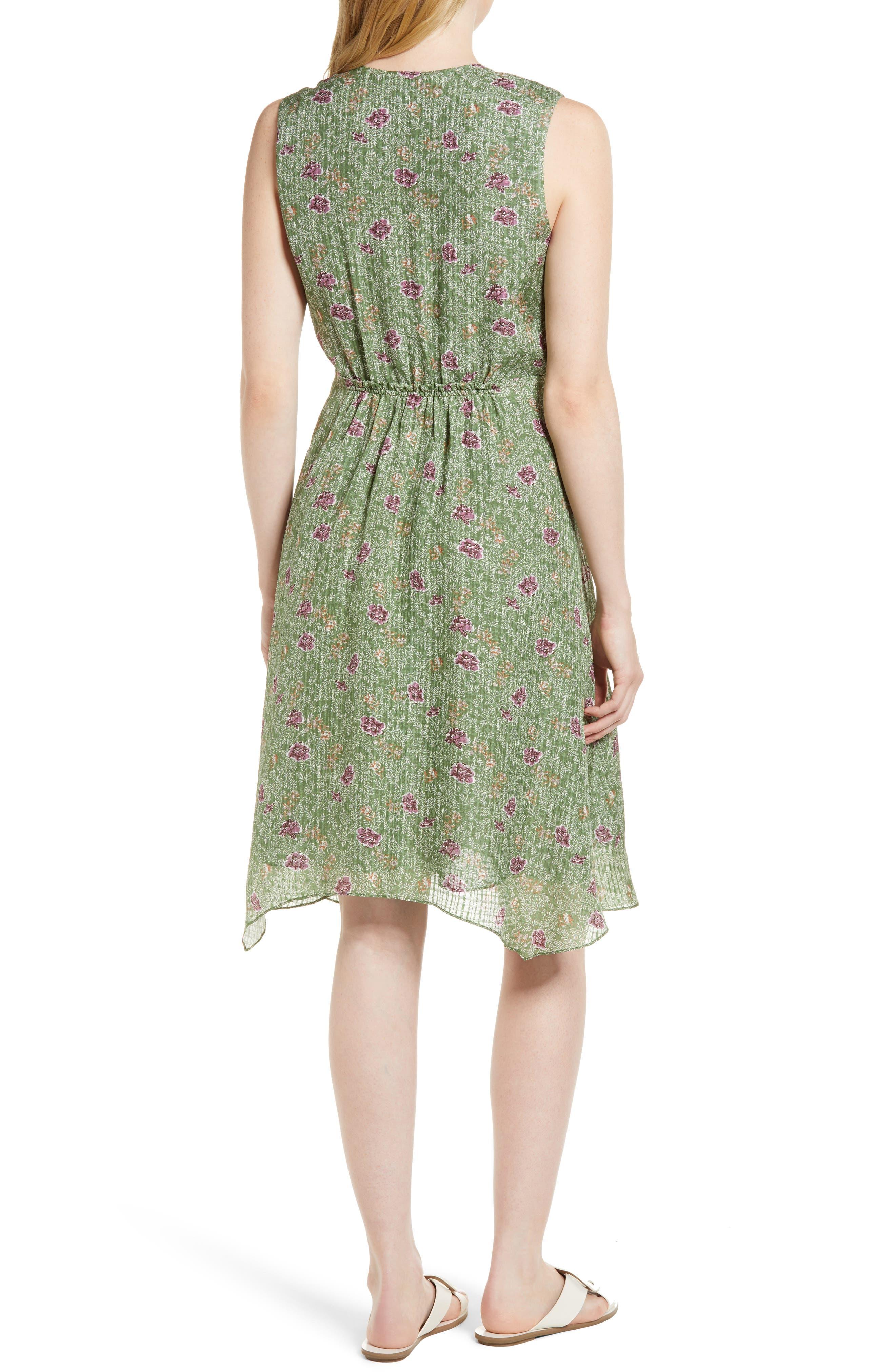 Handkerchief Hem Silk Dress,                             Alternate thumbnail 2, color,                             Green Vineyard Jakarta Floral