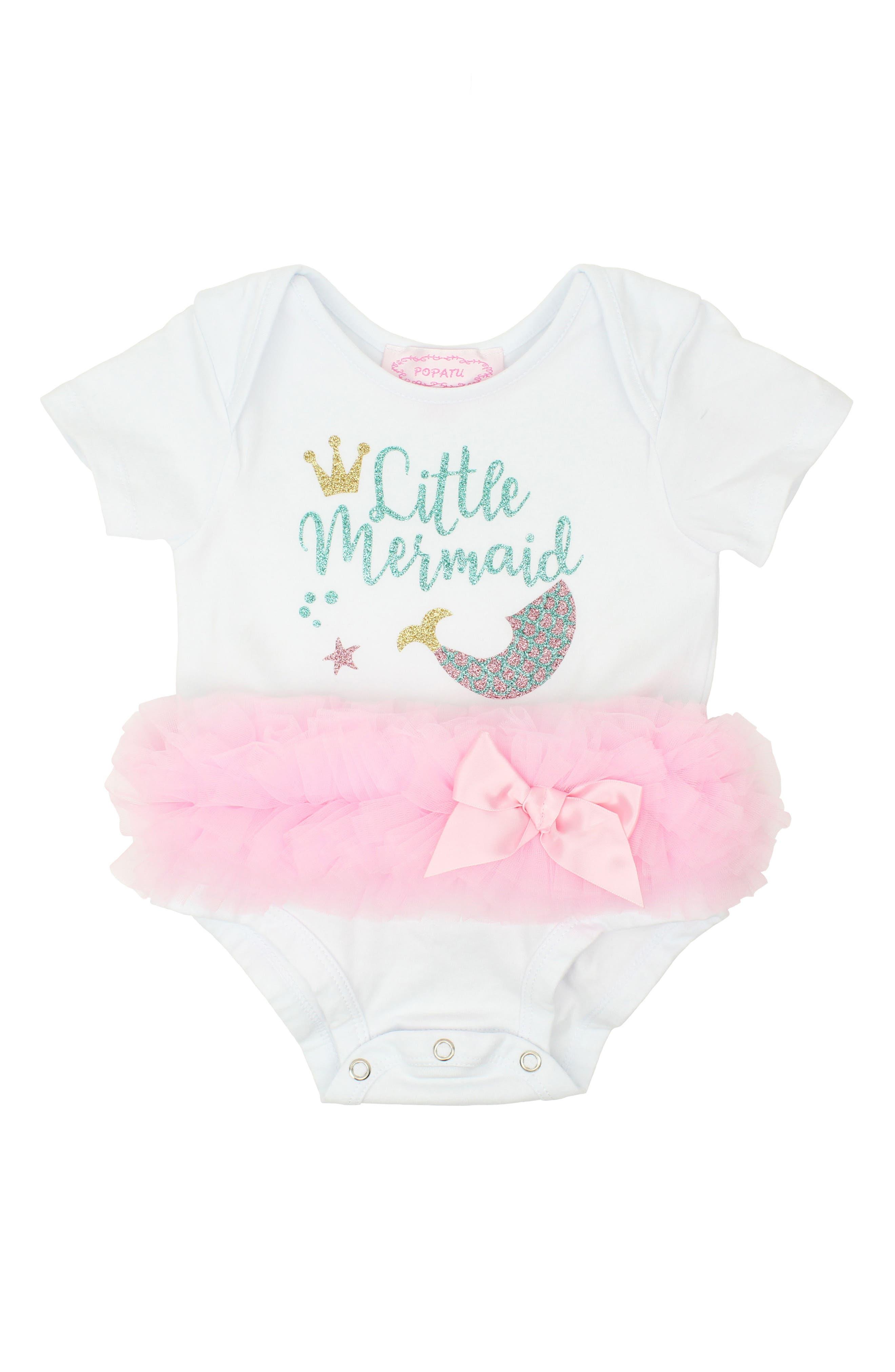 Little Mermaid Tutu Bodysuit,                         Main,                         color, Pink