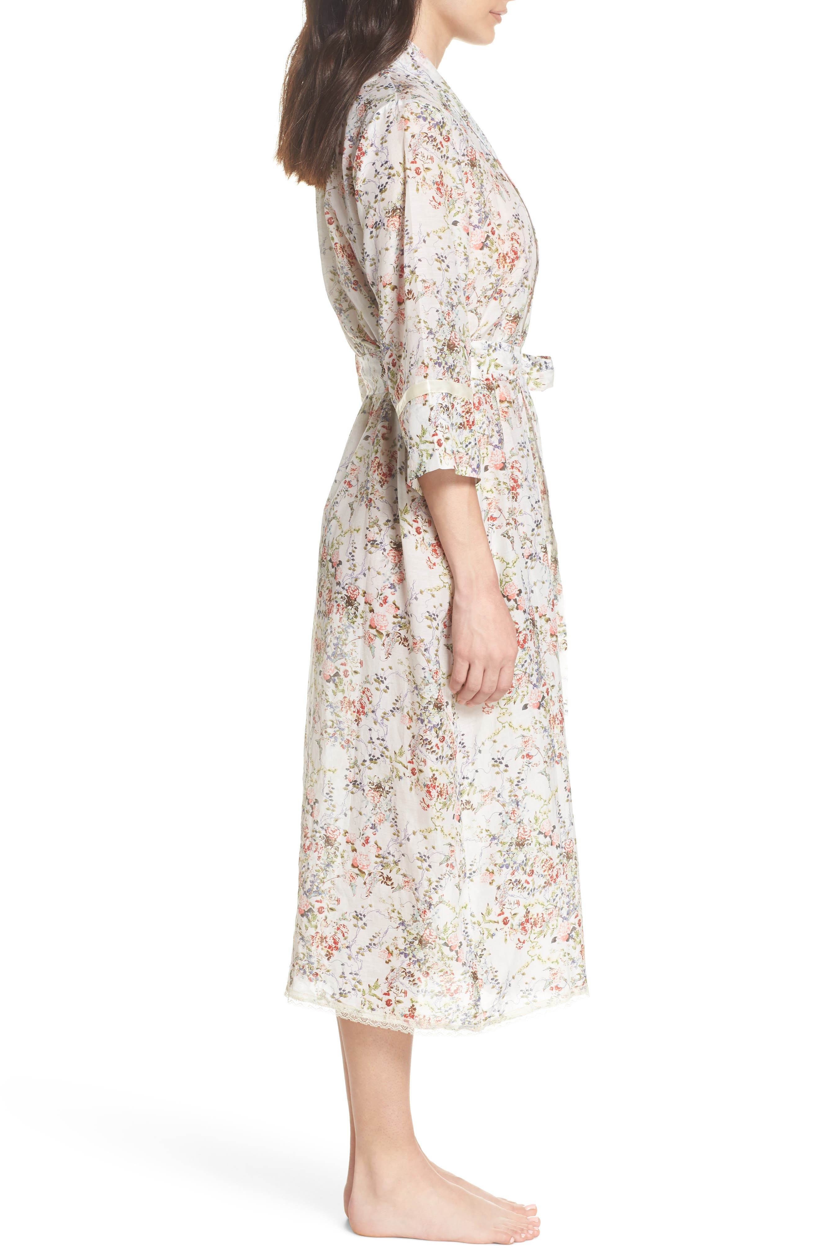 Yolly Floral Cotton & Silk Robe,                             Alternate thumbnail 3, color,                             Ivory Floral