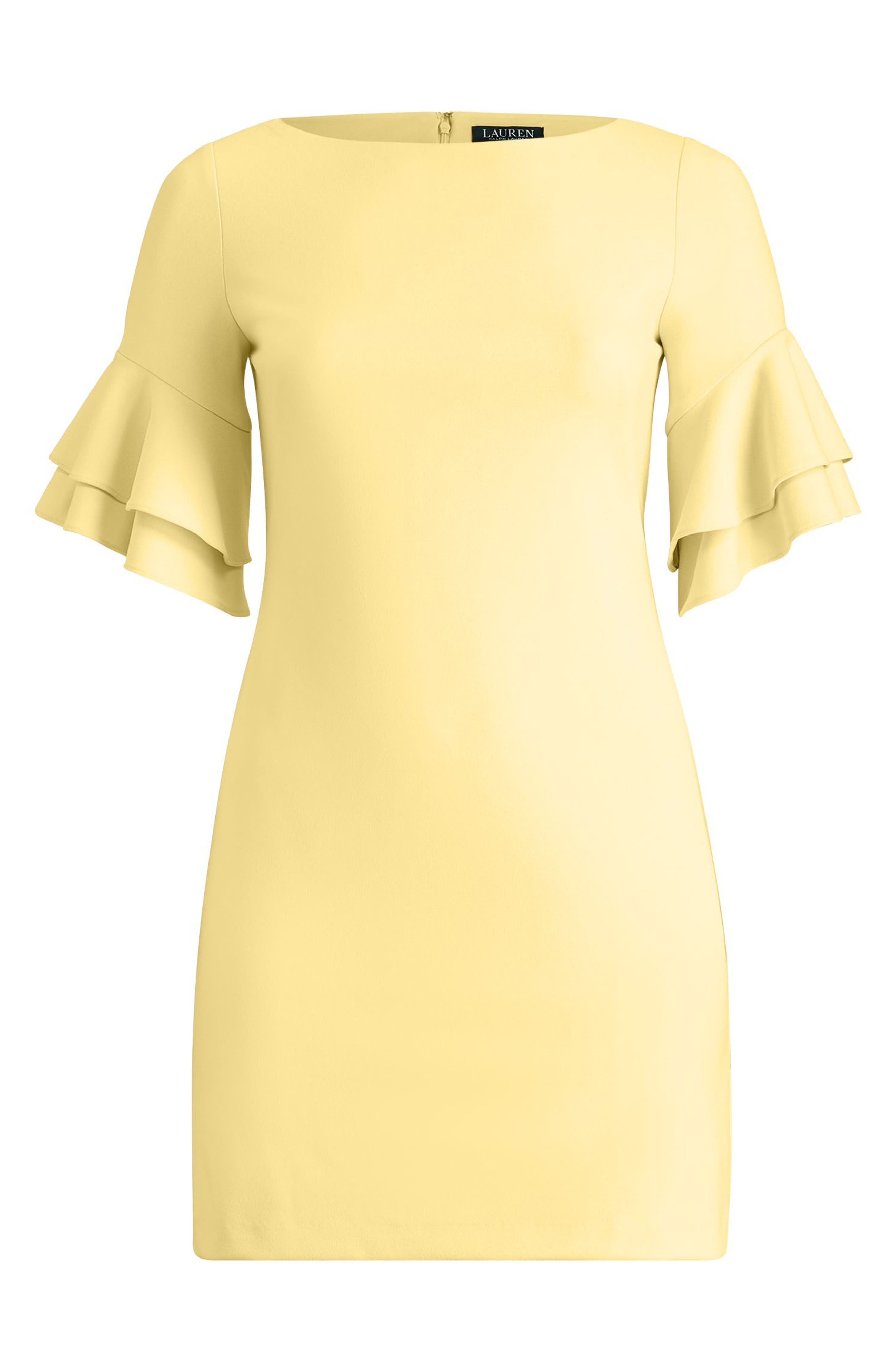 Silvana Ruffle Sleeve Sheath Dress,                             Alternate thumbnail 4, color,                             Island Yellow