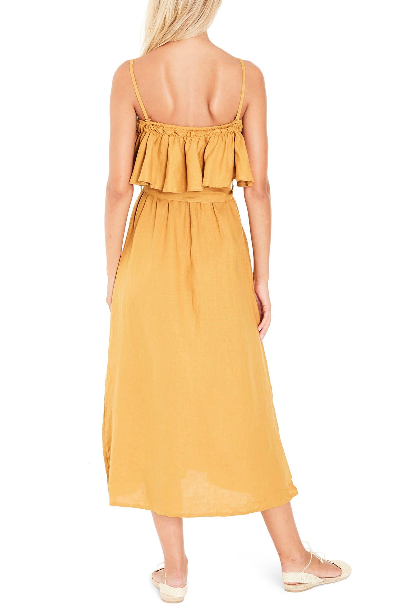 Santo Linen Midi Dress,                             Alternate thumbnail 3, color,                             Plain Marigold