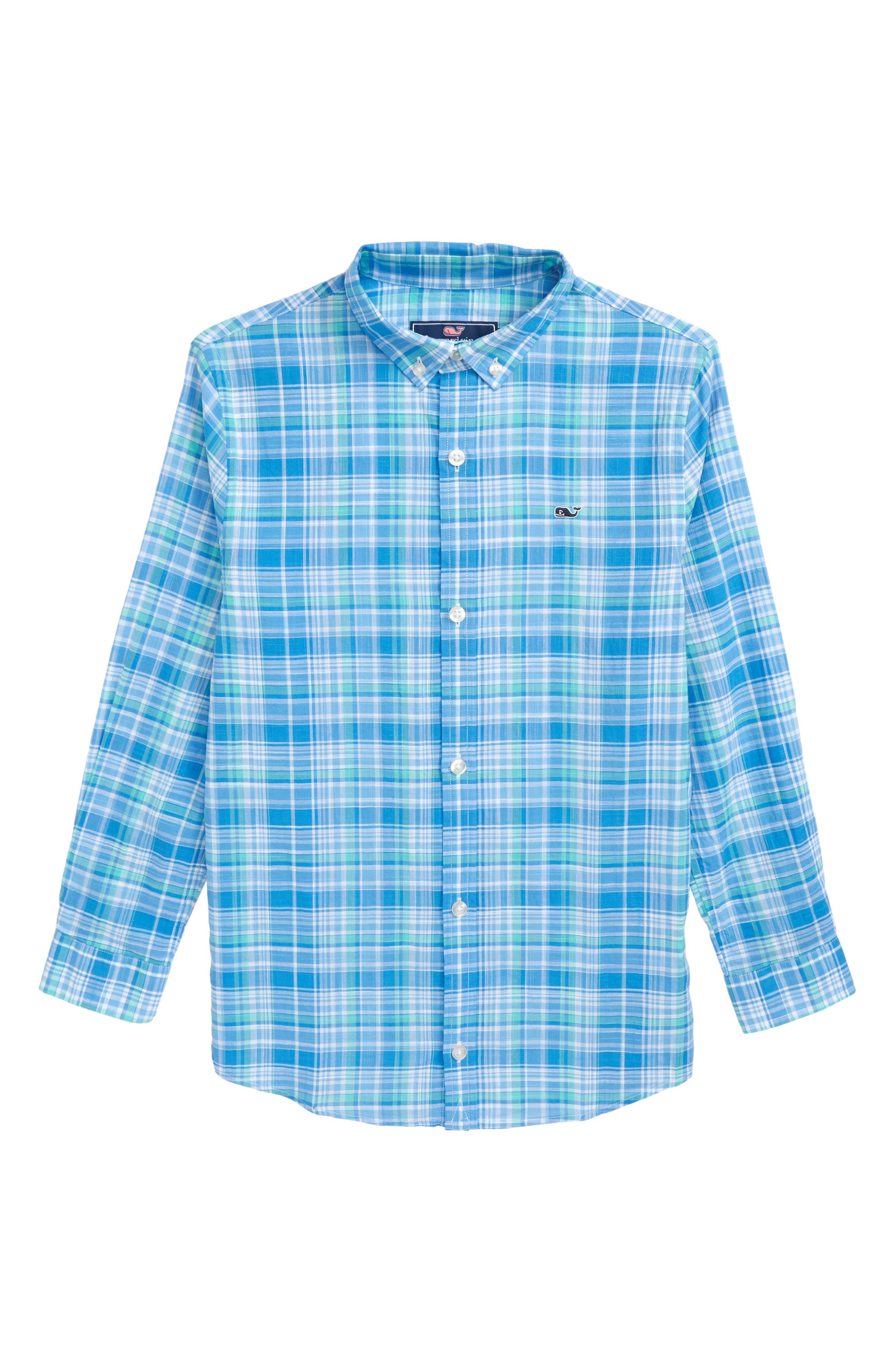 New Providence Beach Plaid Woven Shirt,                             Main thumbnail 1, color,                             Antigua Green