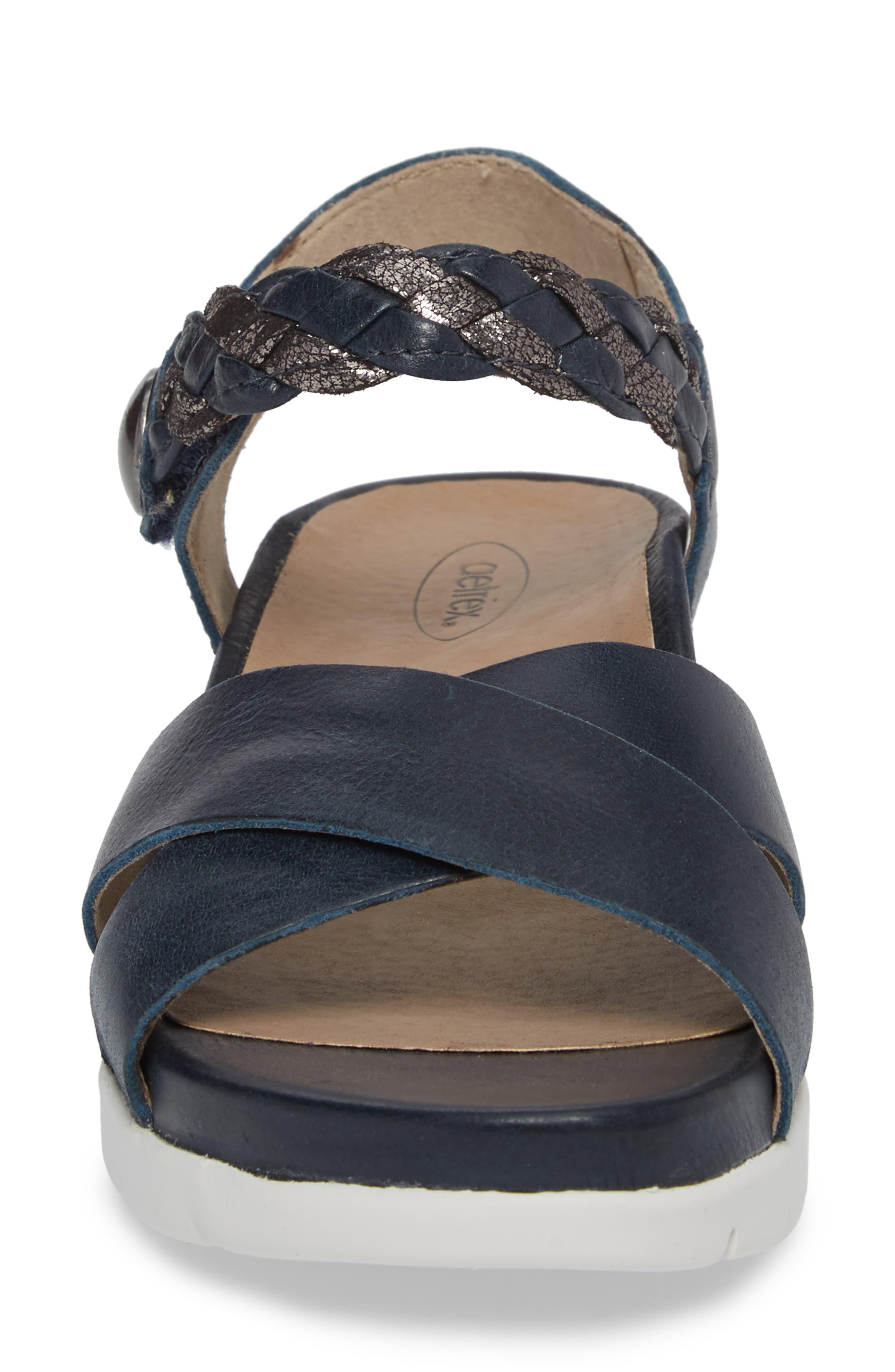 Piper Sandal,                             Alternate thumbnail 4, color,                             Navy Leather