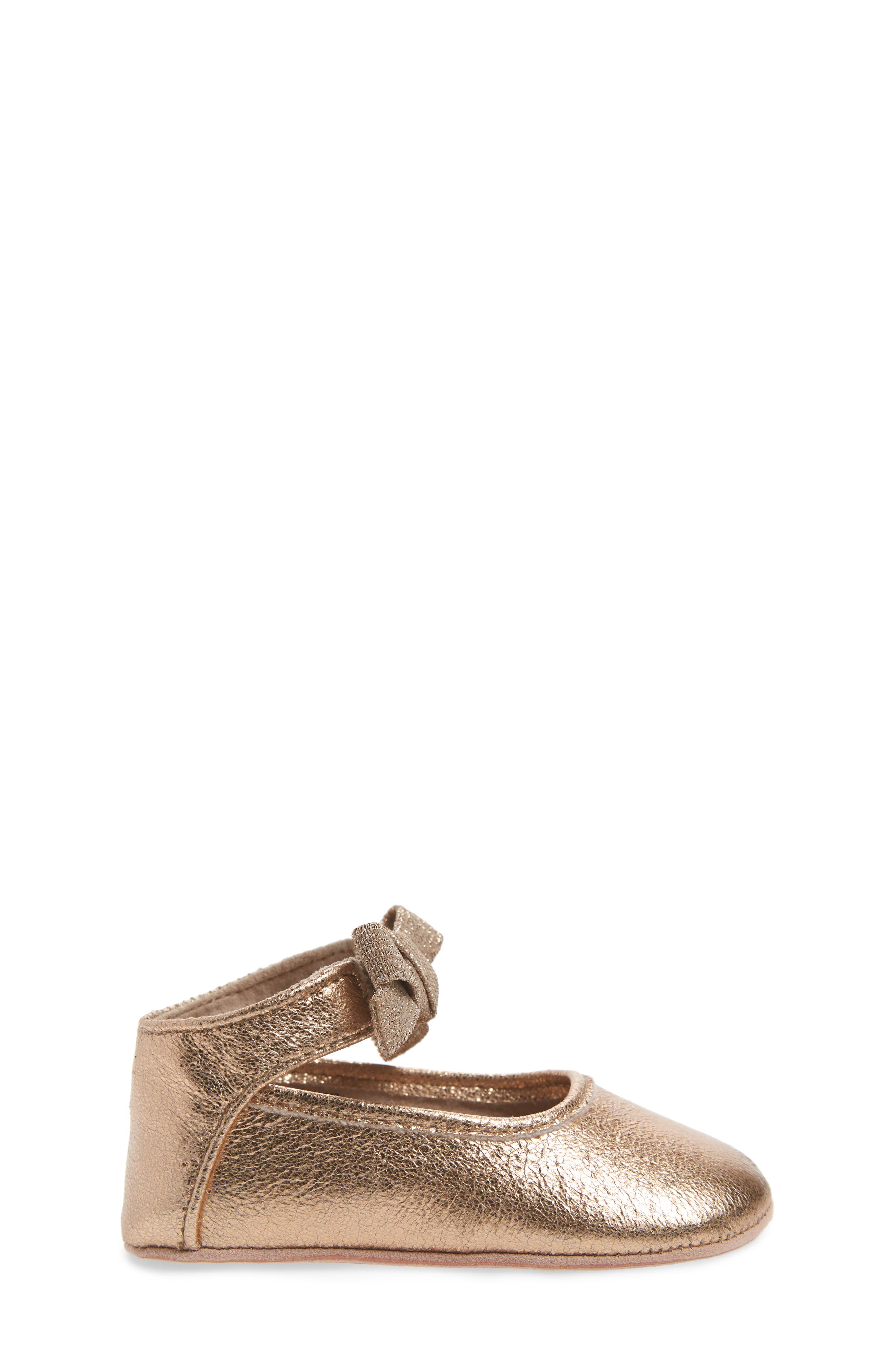 Alternate Image 3  - Kenneth Cole New York Rose Bow Metallic Ballet Flat (Baby)