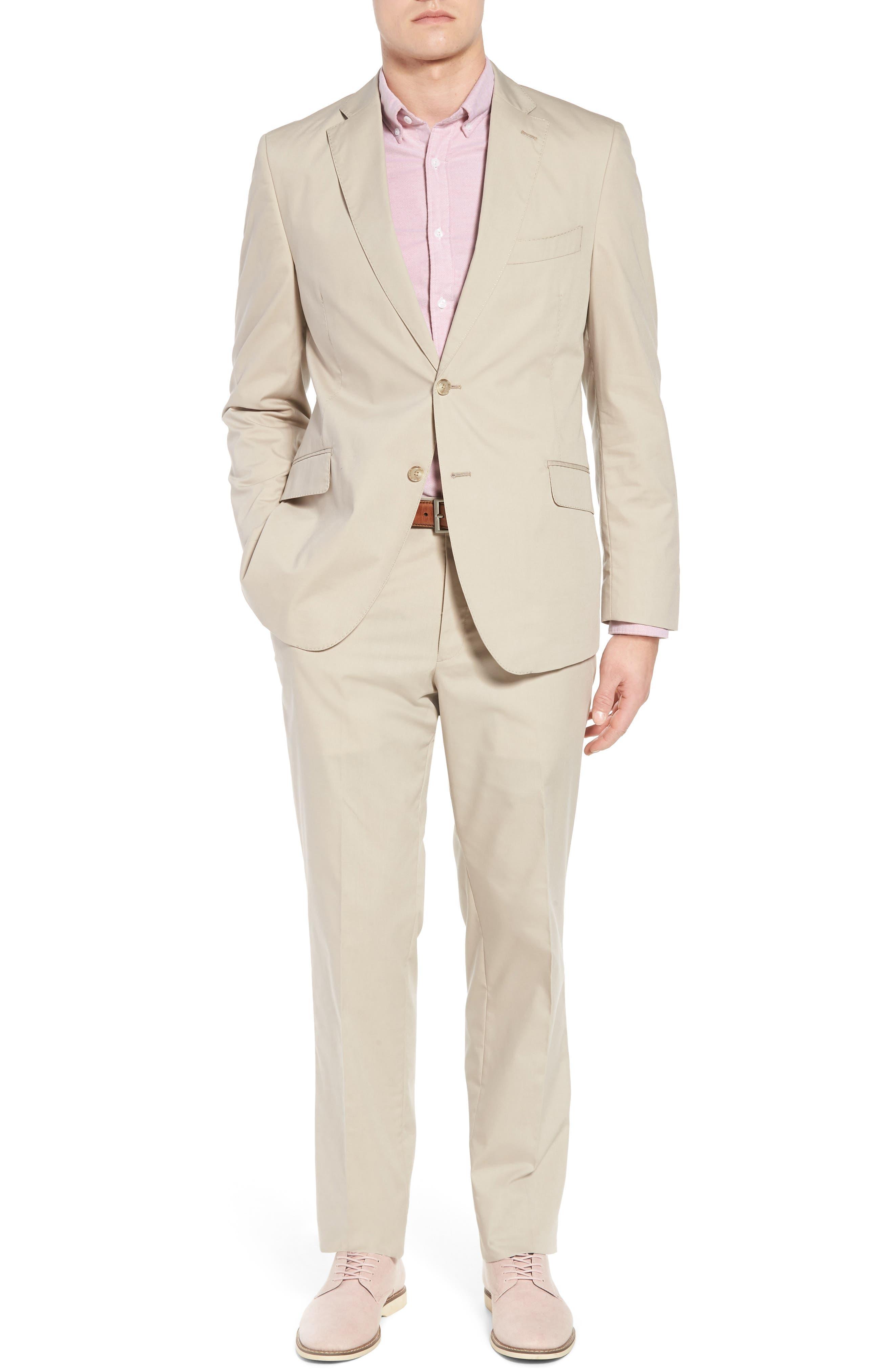 Irons AIM Classic Fit Solid Cotton Blend Suit,                             Main thumbnail 1, color,                             Beige