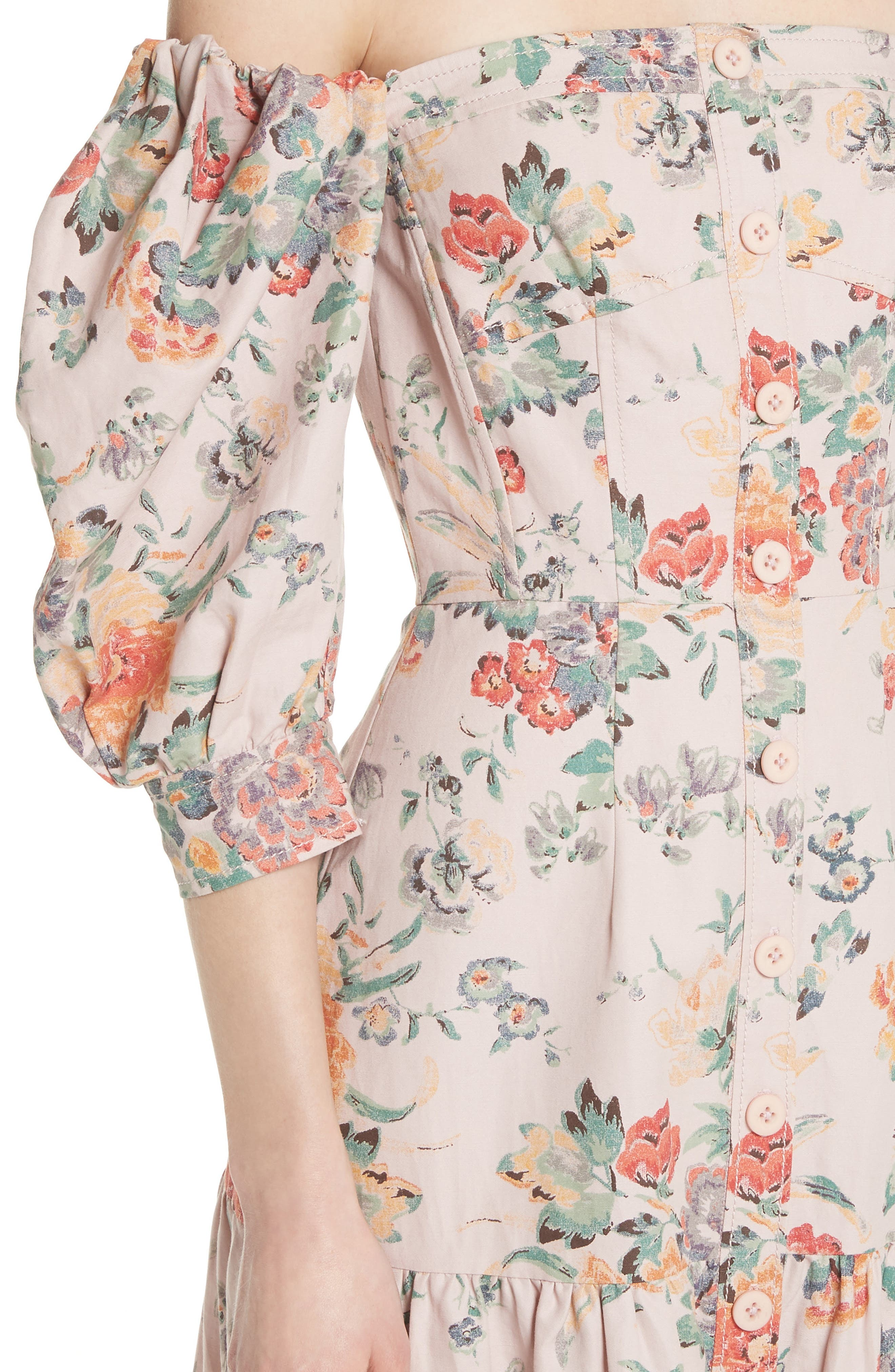 Marlena Off the Shoulder Floral Midi Dress,                             Alternate thumbnail 4, color,                             Dusty Rose Combo