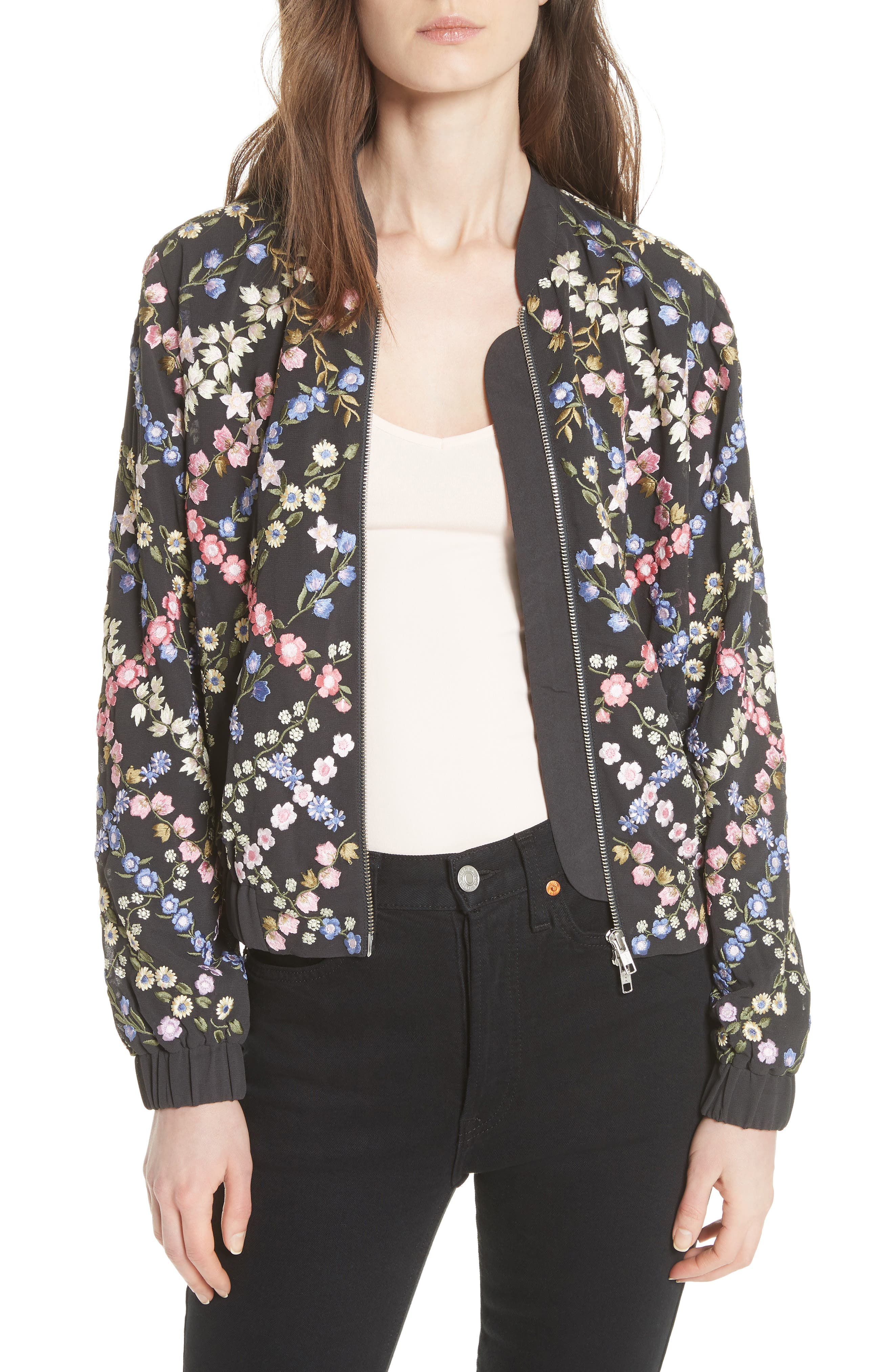 Crosshatch Embroidered Bomber Jacket,                             Main thumbnail 1, color,                             Graphite / Lavender