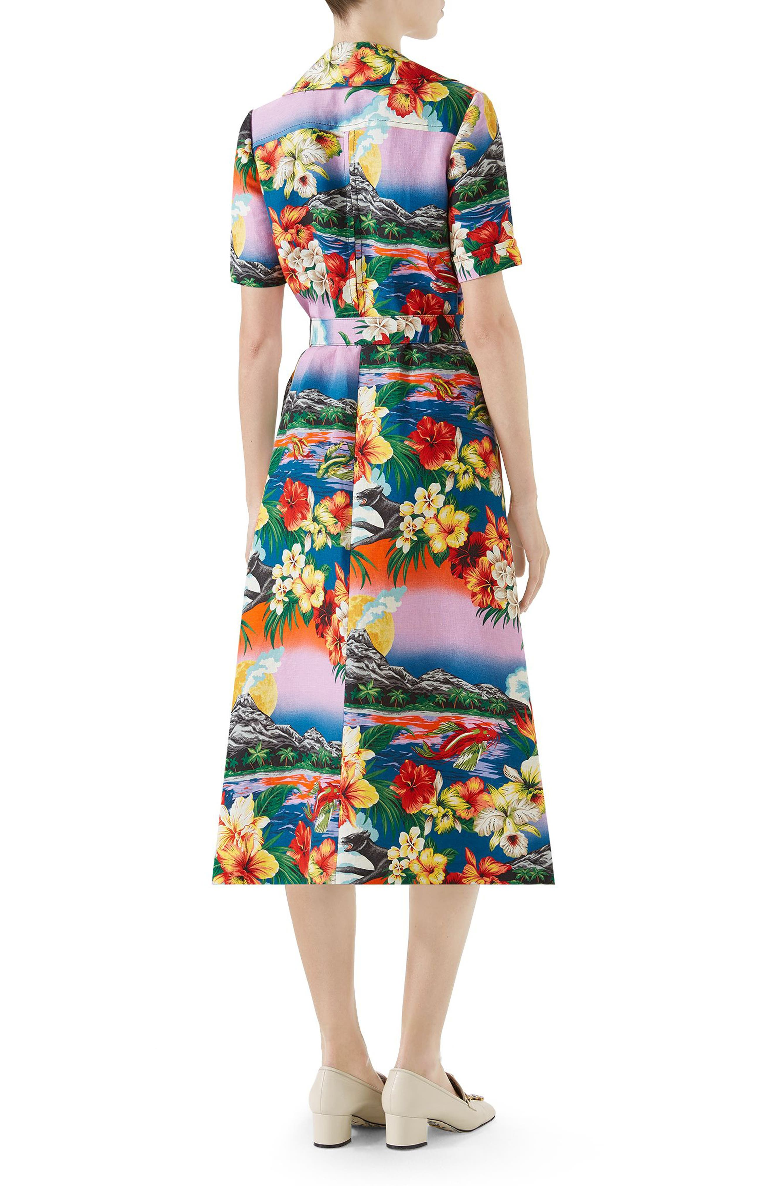 Belted Hawaiian Linen Shirtdress,                             Alternate thumbnail 2, color,                             Pink/ Blu/ Orange Print