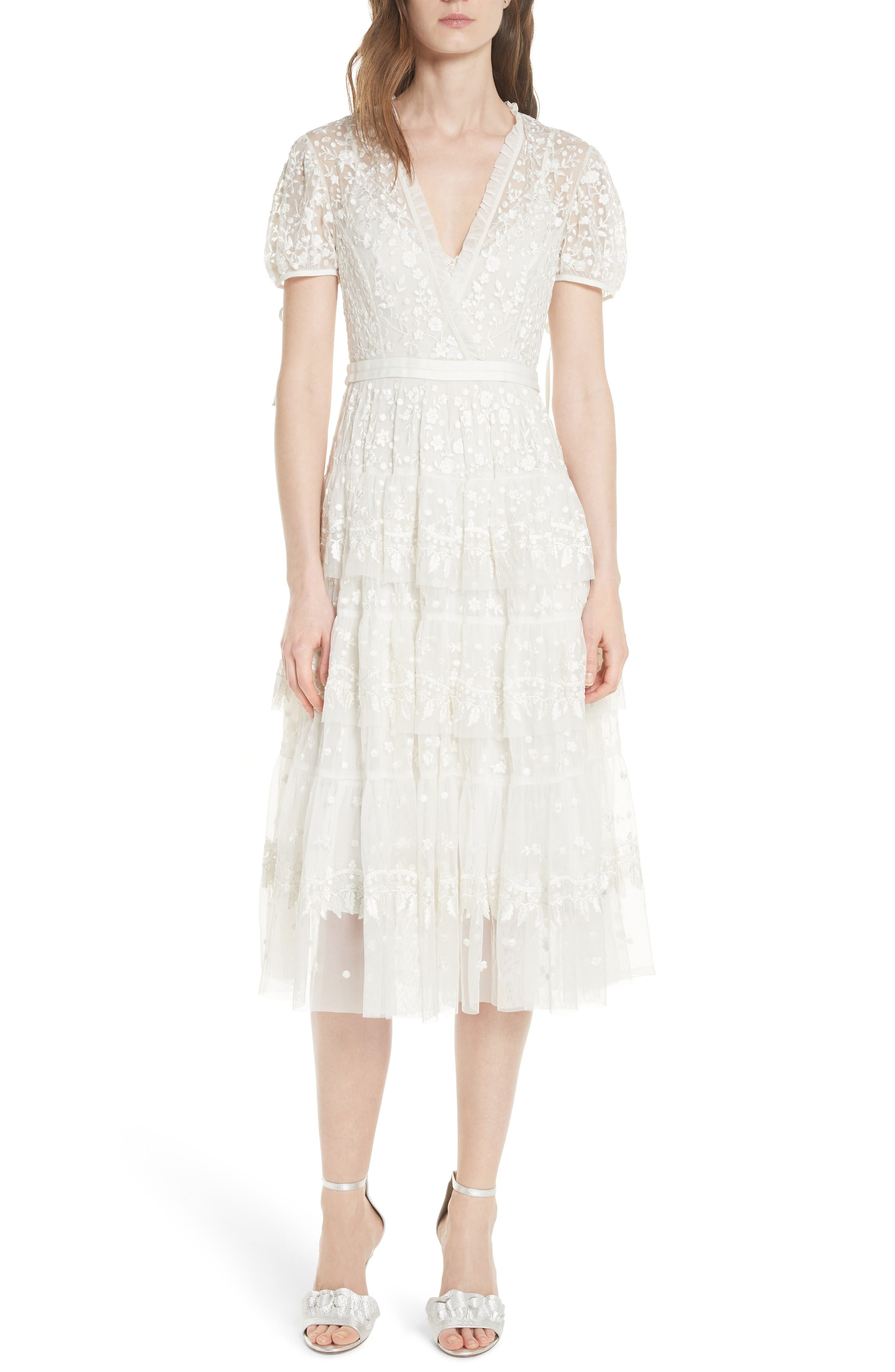 Layered Lace Dress,                             Main thumbnail 1, color,                             Ivory