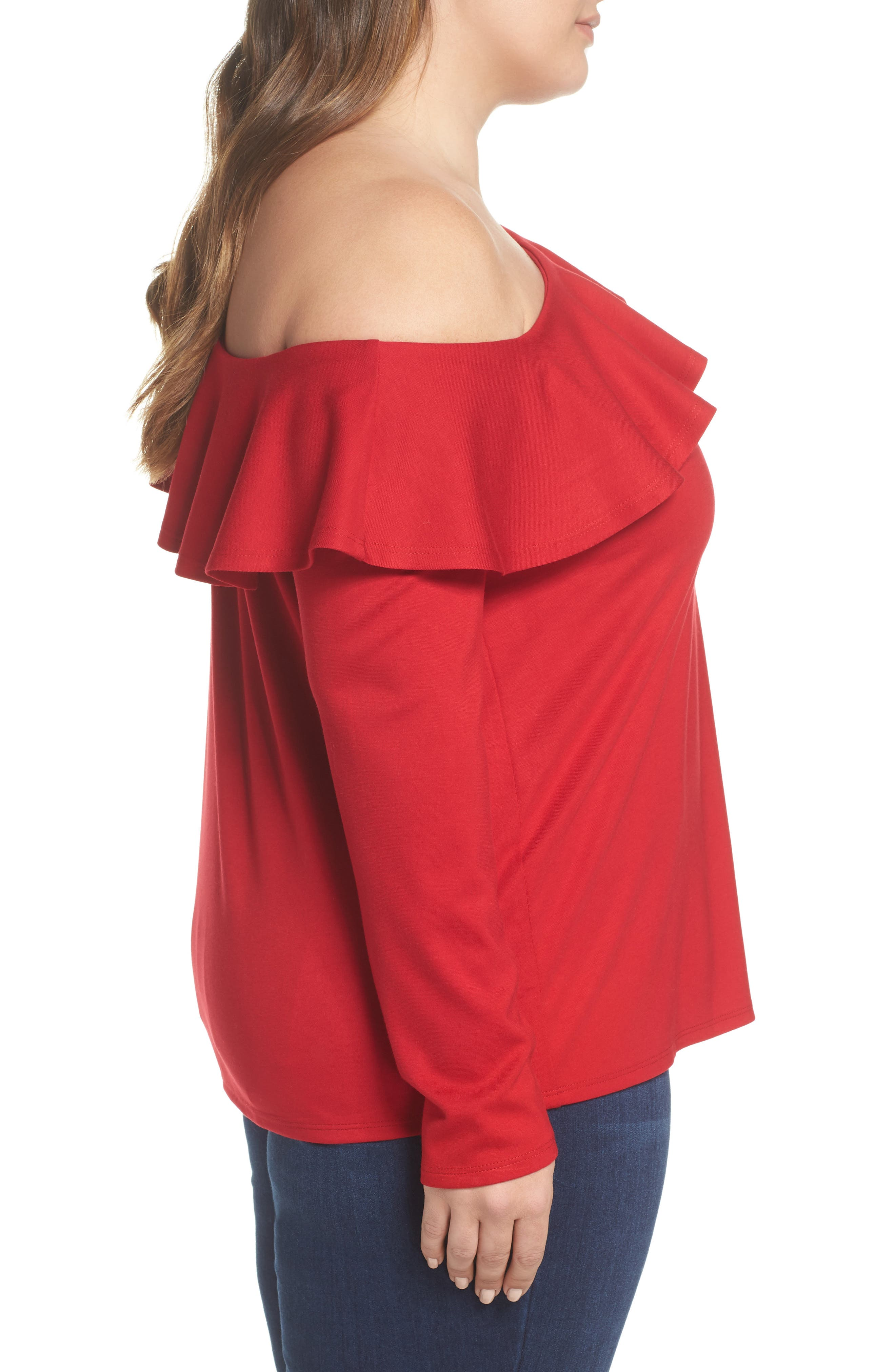 x Living in Yellow Elizabeth One-Shoulder Ruffle Top,                             Alternate thumbnail 7, color,                             Red