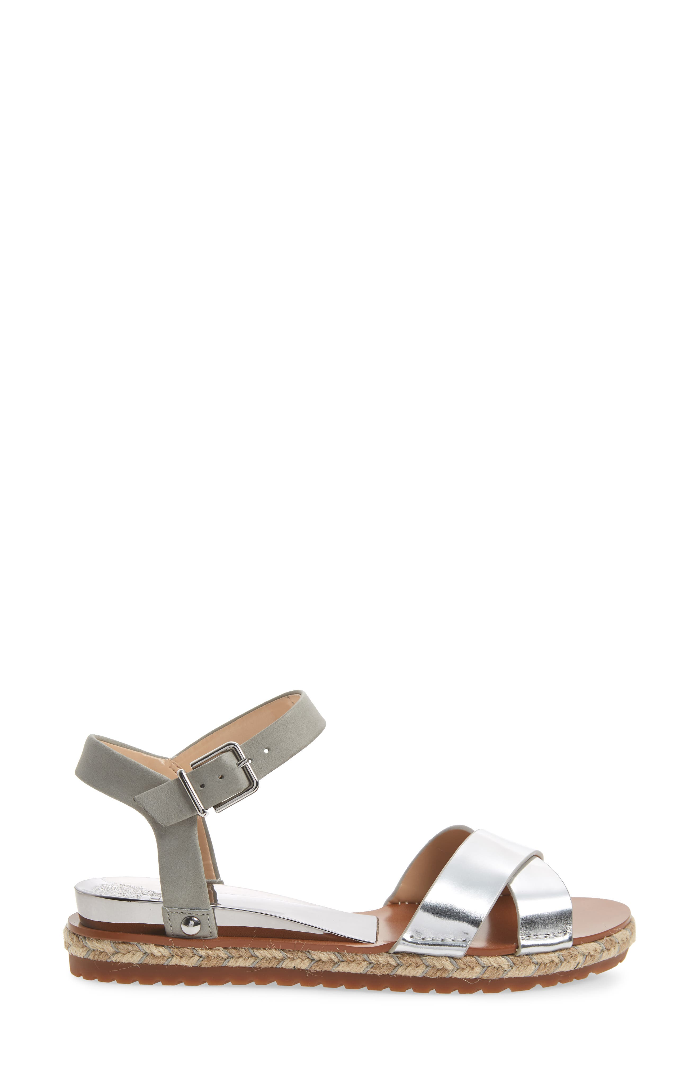 Kankitta Sandal,                             Alternate thumbnail 3, color,                             Cloudy Grey Combo Leather