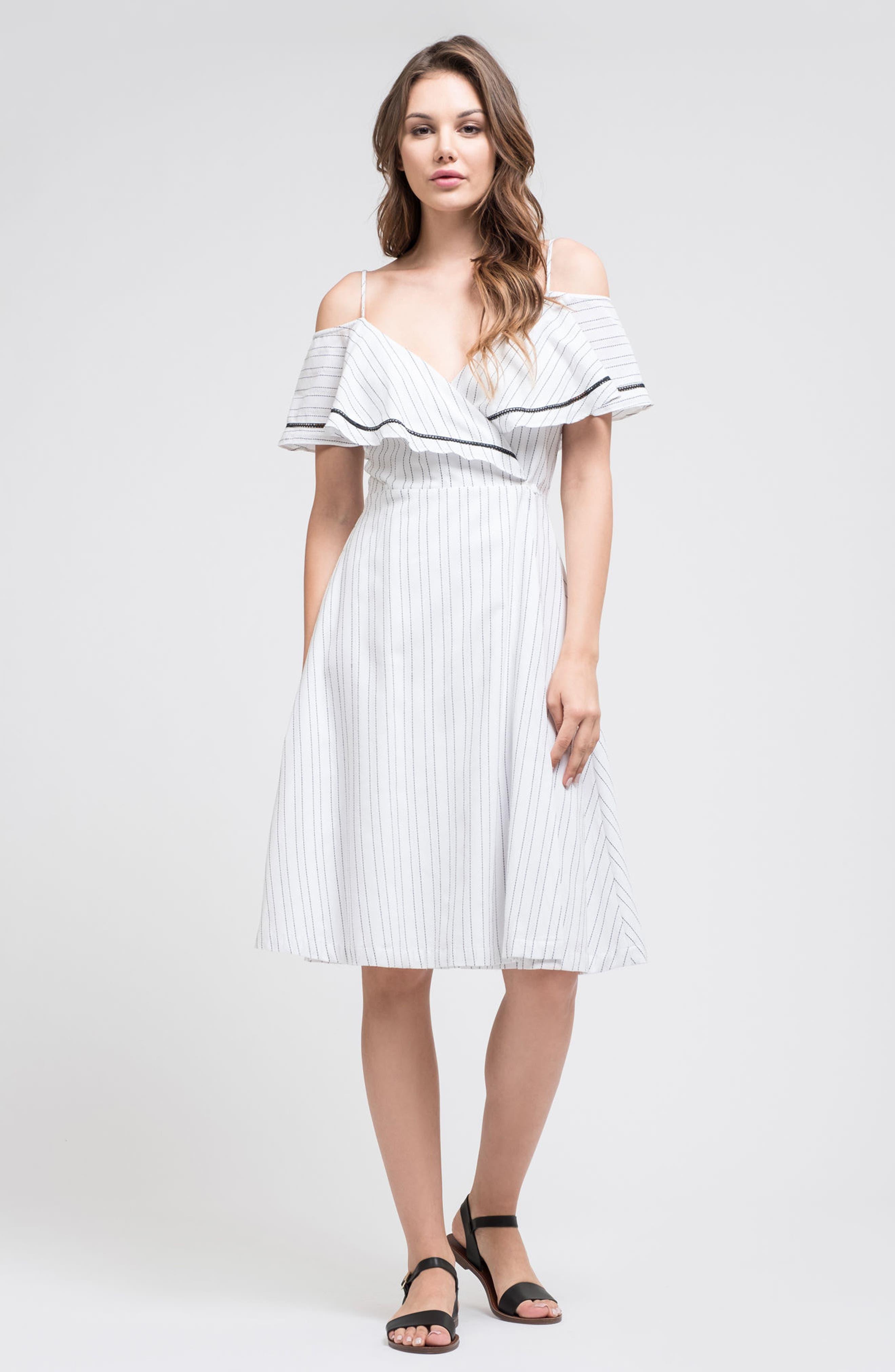 Cold Shoulder Midi Dress,                             Alternate thumbnail 2, color,                             White/ Black